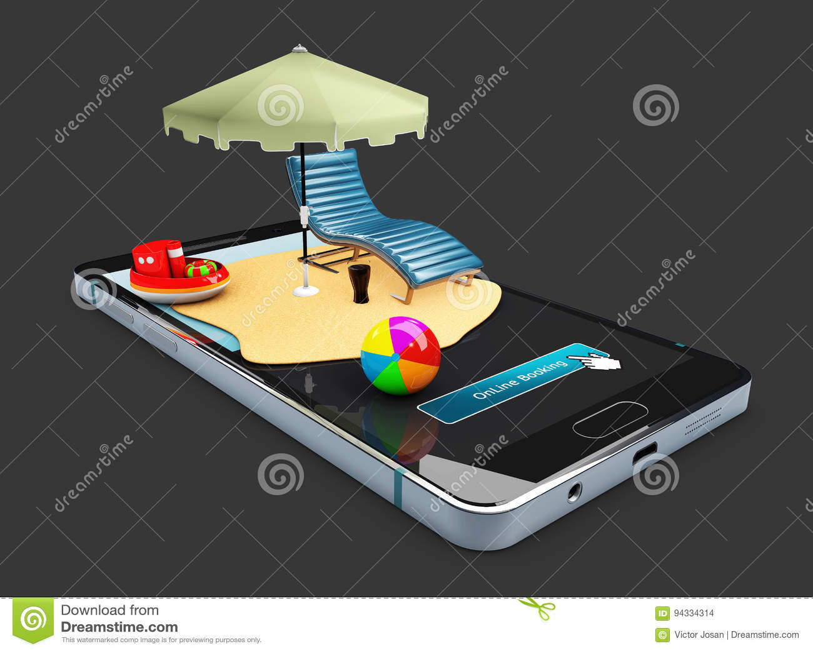 Ejemplo 3d Del Escaparate De La Maqueta Del App De La Reservación En ...