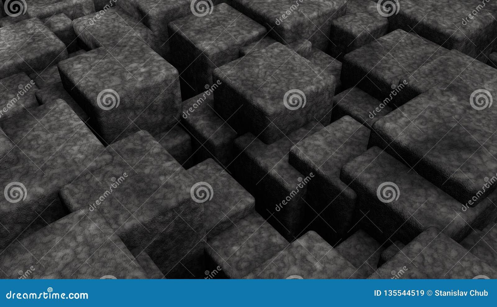 Ejemplo 3D del extracto, fondo futurista de muchos diversos cubos del tamaño representación 3d de formas geométricas