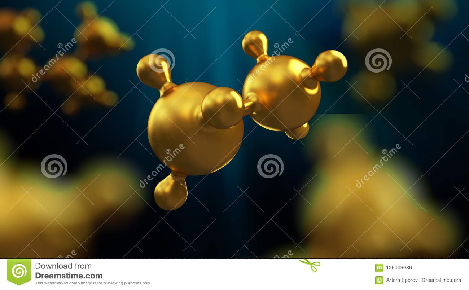 Ejemplo 3D del fondo abstracto de la molécula del metal del oro