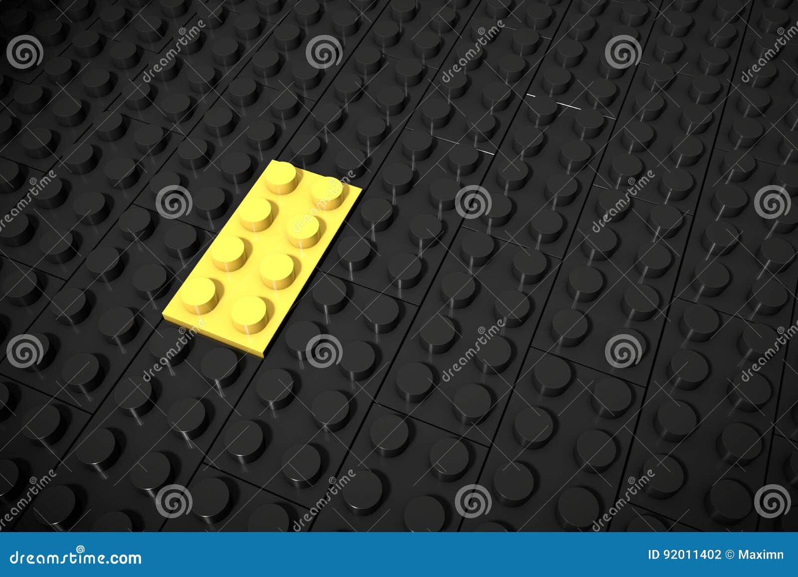 Ejemplo 3d: Diversos juguetes amarillos juntan las piezas de mentiras en un fondo negro se insertan en el surco Concepto del nego