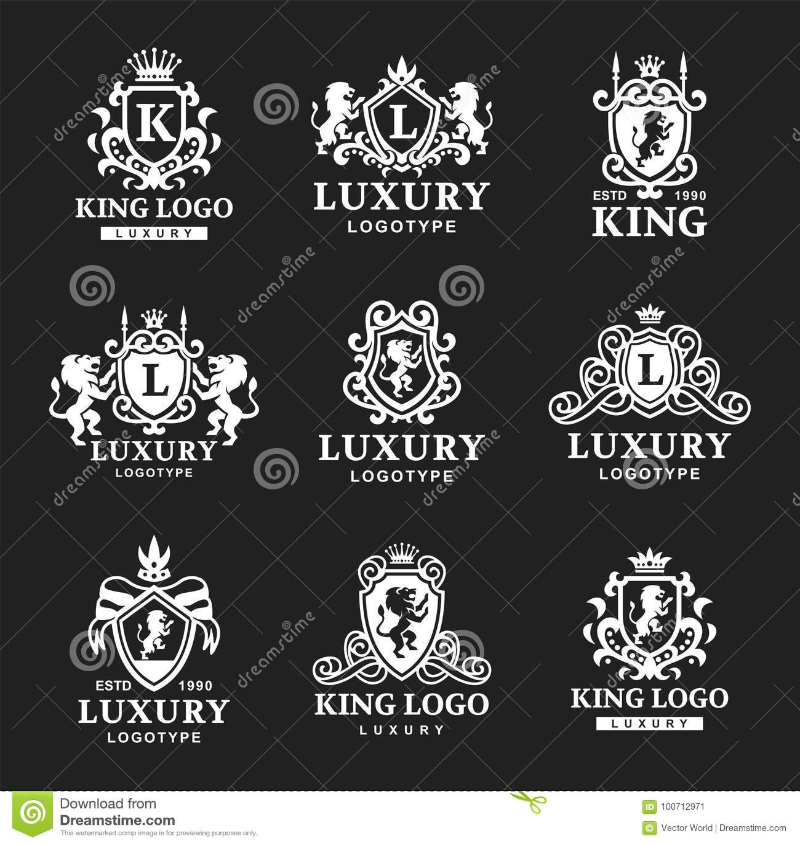 Ejemplo de alta calidad del vector de la identidad de marca de la colección del logotipo de la heráldica del producto del vintage