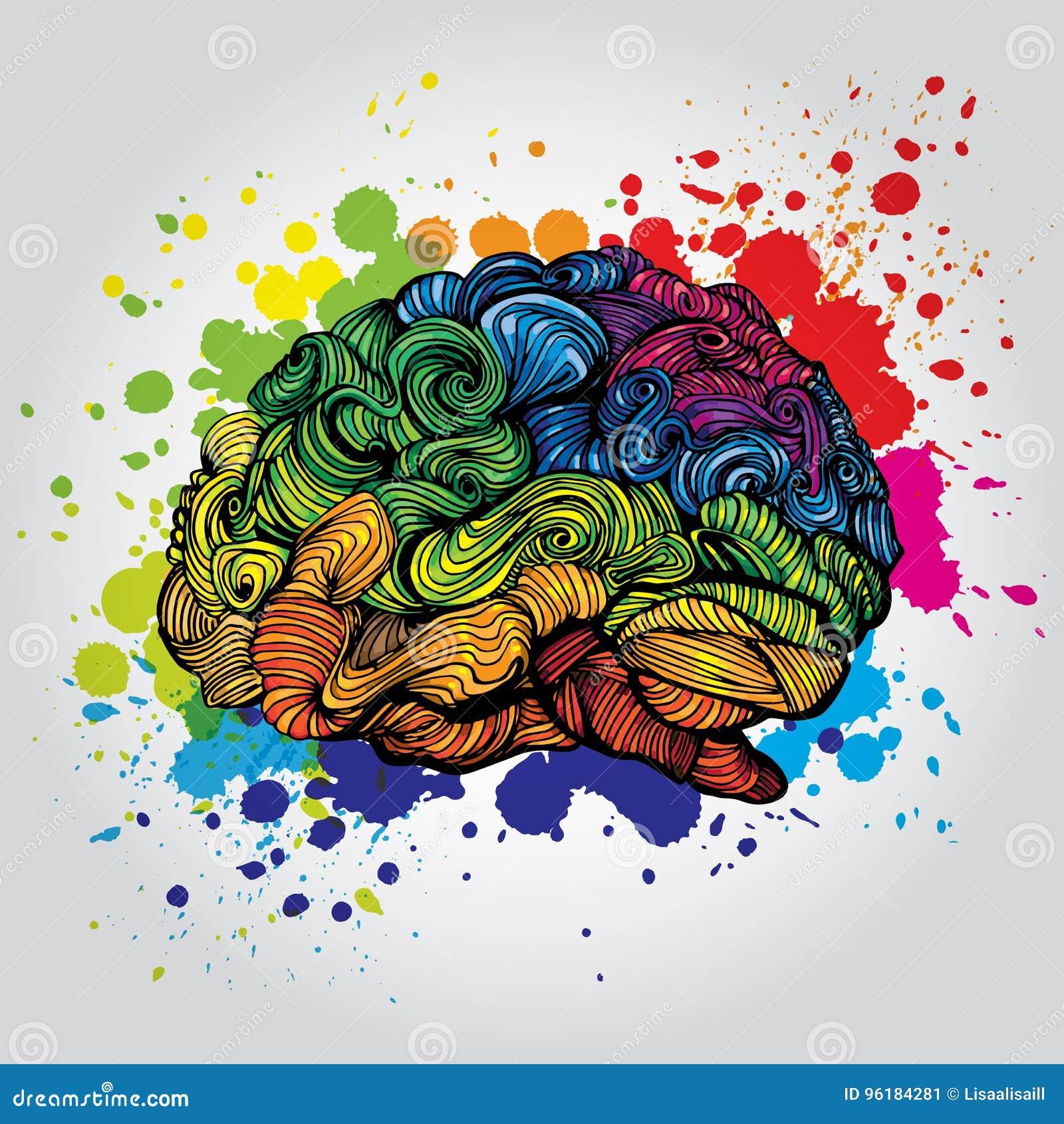 Ejemplo de Brain Bright Idea Garabatee el concepto del vector sobre cerebro humano e ideas Ejemplo creativo