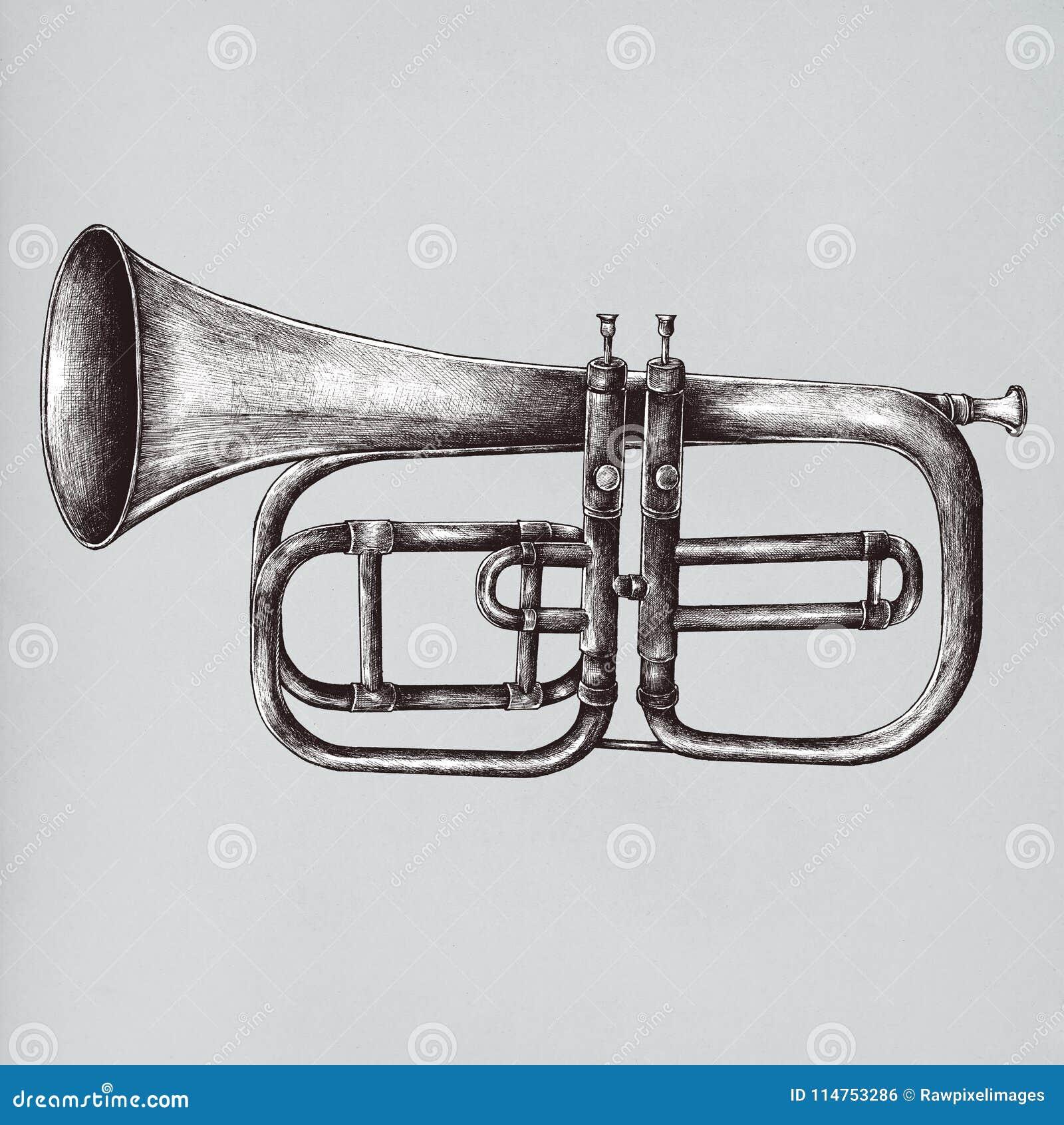 Ejemplo de cobre amarillo del estilo del vintage de la trompeta
