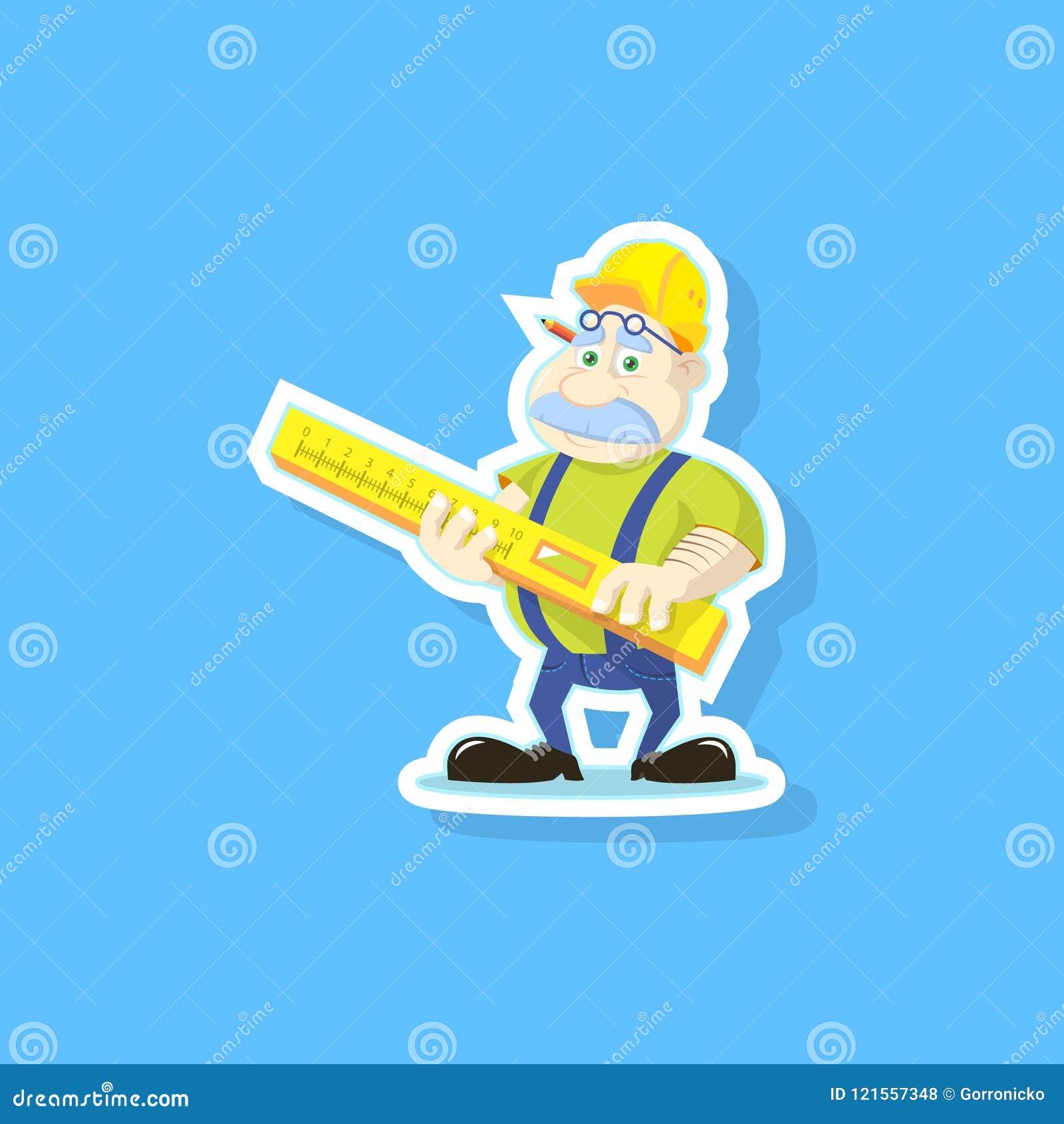 Ejemplo de color plano del arte de un constructor lindo de la historieta con la regla