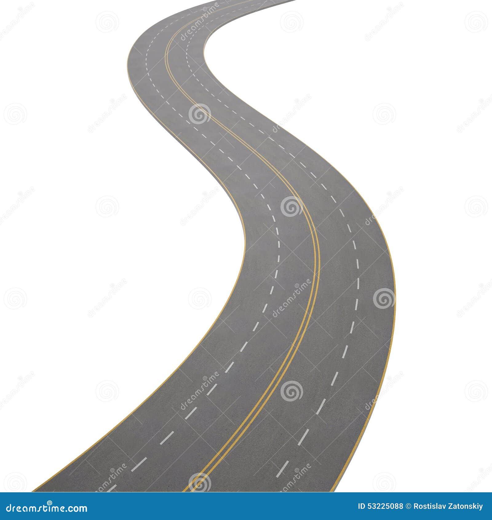 Ejemplo de curvar, camino de doblez, aislado