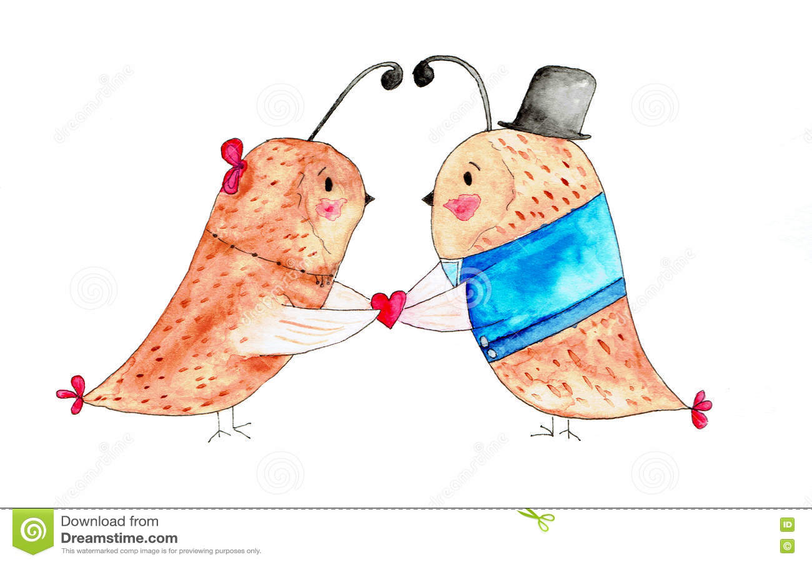 Ejemplo De Dos Pájaros En Amor Stock de ilustración