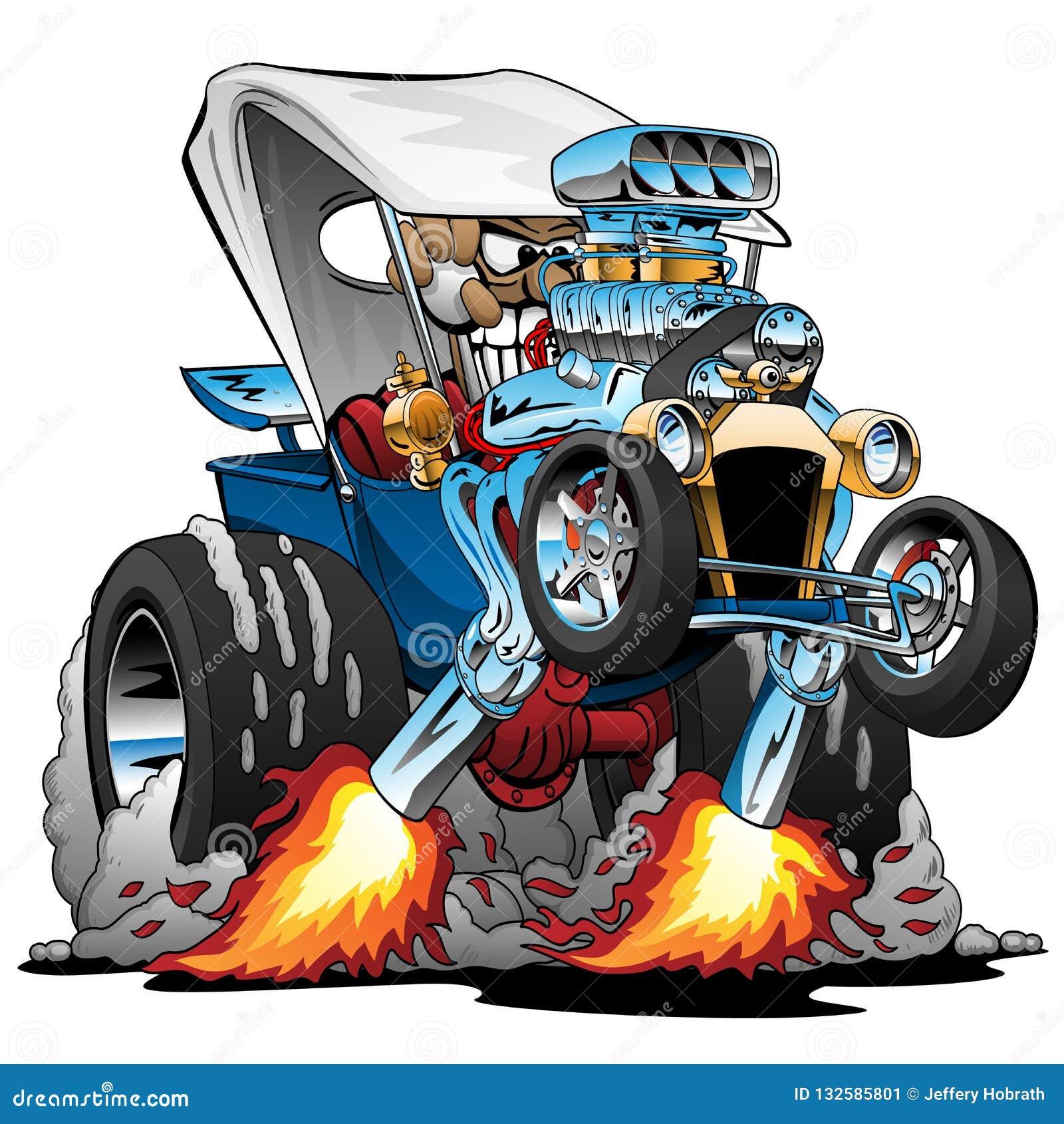 Ejemplo de encargo del vector de la historieta de Hotrod del automóvil descubierto del T-cubo
