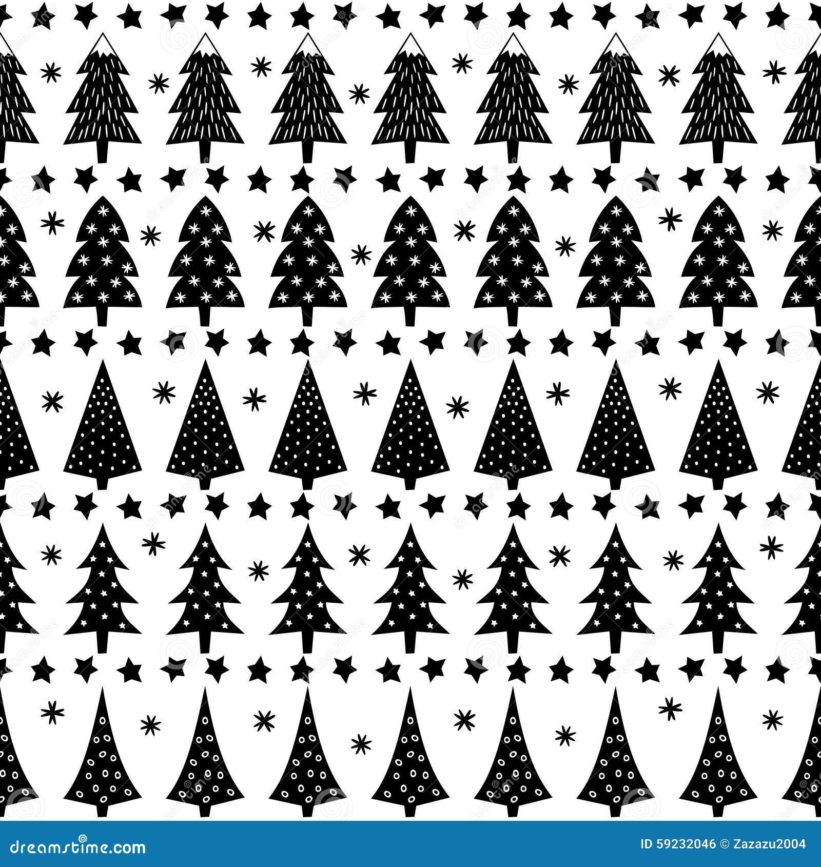 Ejemplo de Forest Background Modelo inconsútil simple de la Navidad - árboles de Navidad, estrellas, copos de nieve