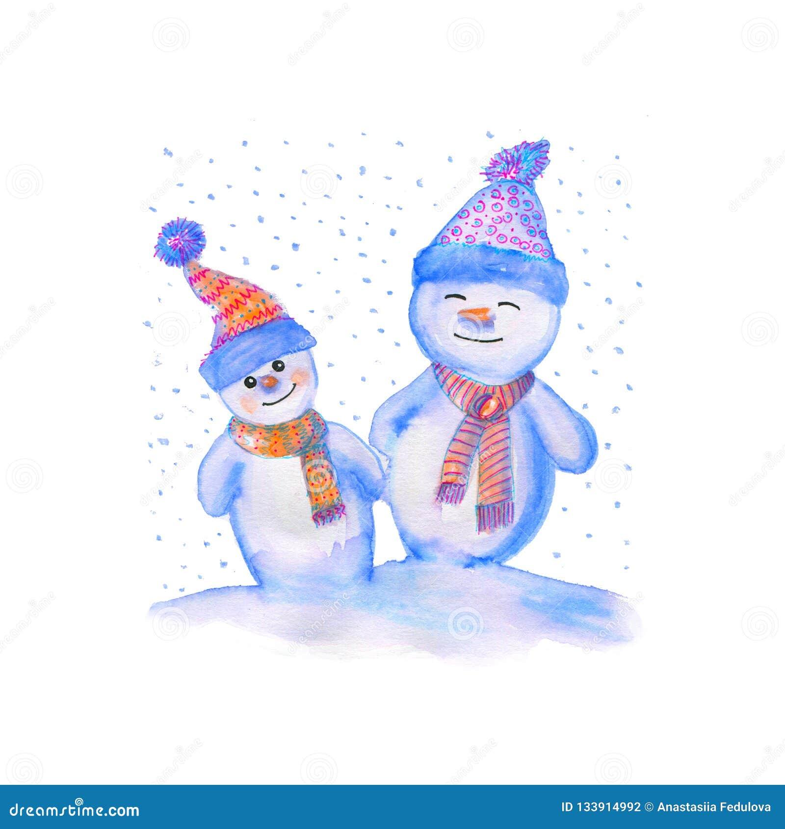Ejemplo de la acuarela del muñecos de nieve en sombreros y bufandas calientes Símbolo del invierno del Año Nuevo