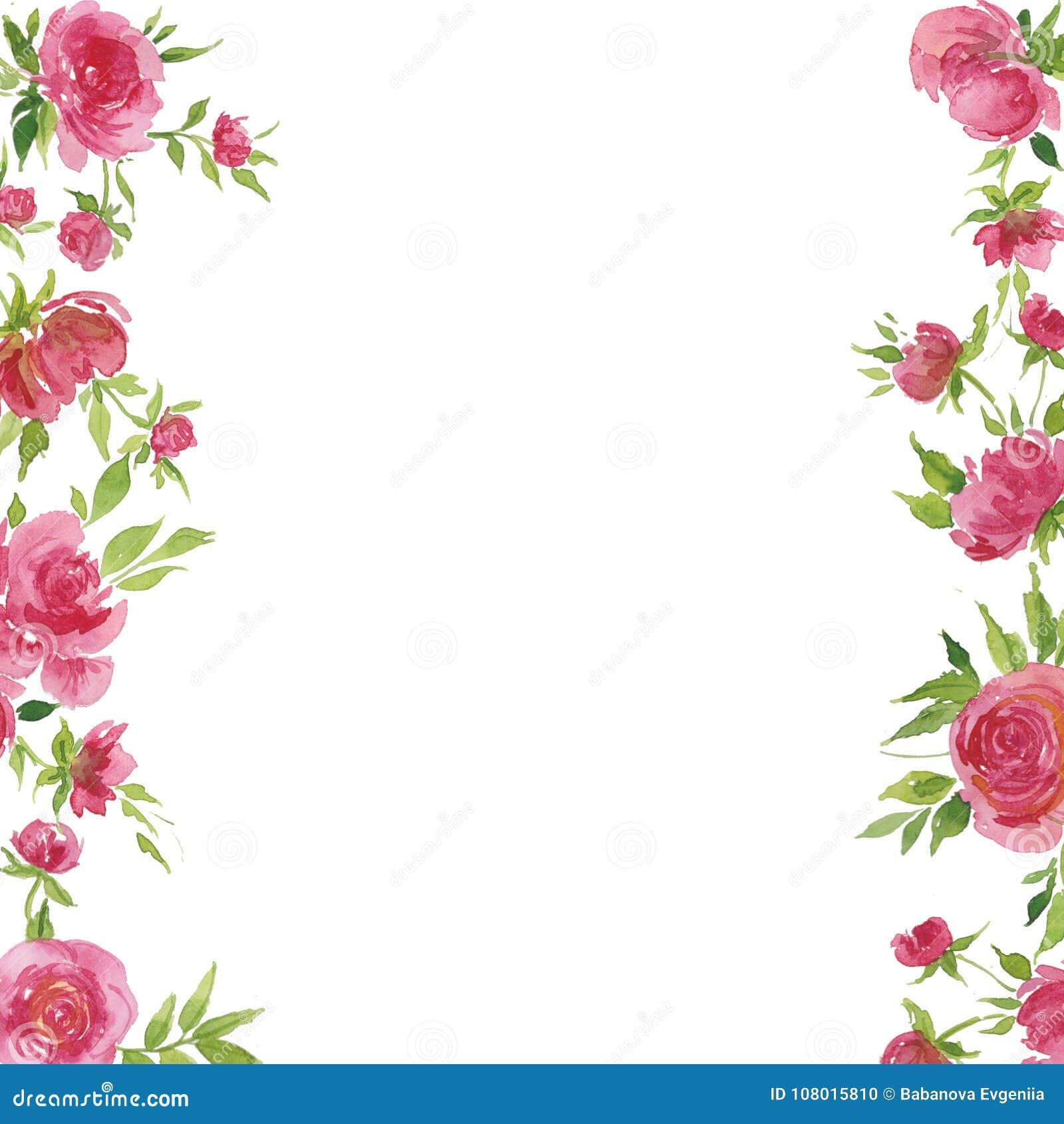 Ejemplo De La Acuarela De Rosas Rojas Y De Hojas Para Las Postales
