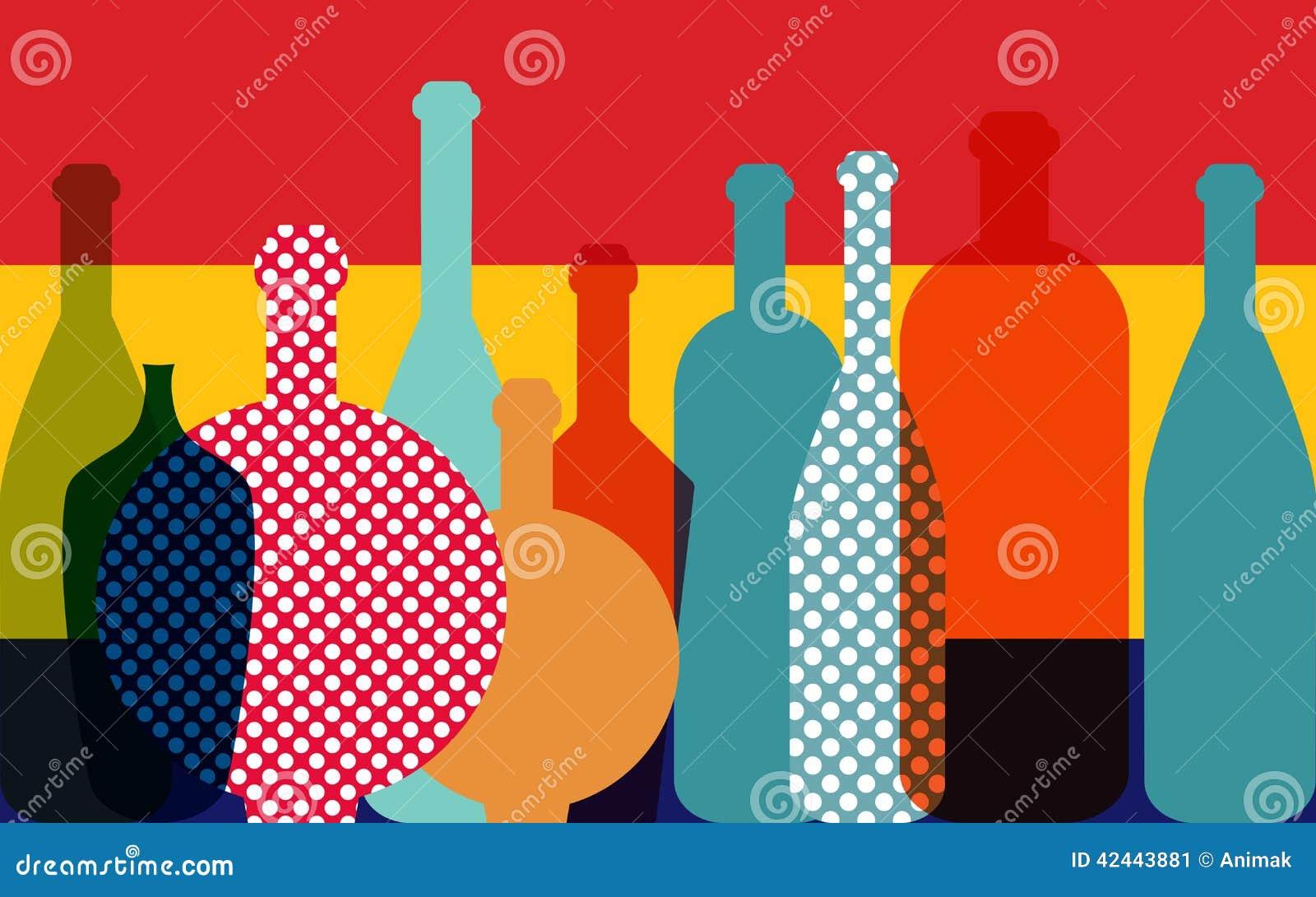 Ejemplo de la botella de vino Vector