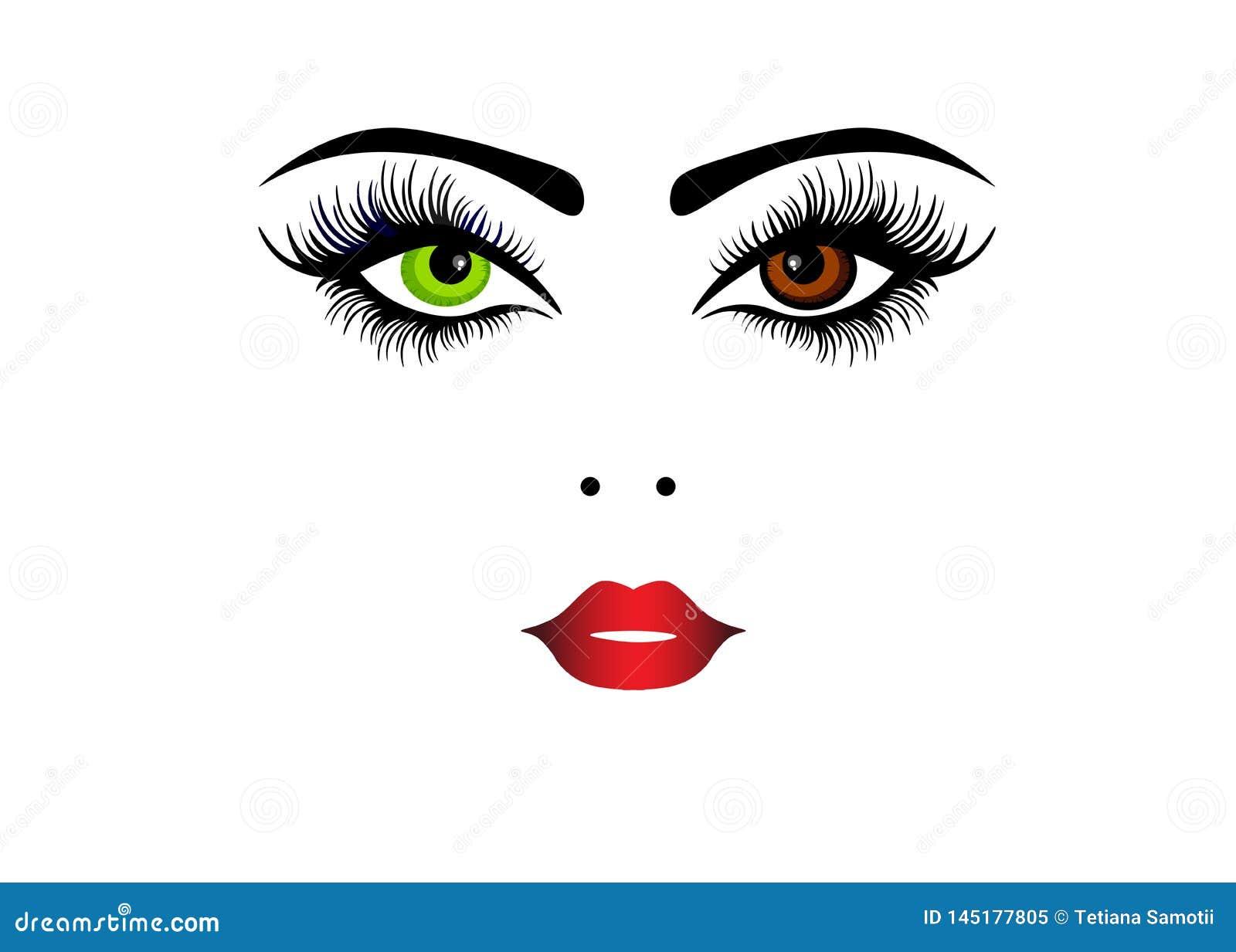 Ejemplo de la cara de la mujer de la belleza de la moda del encanto de la web con belleza de la cara de la inscripción de la moda