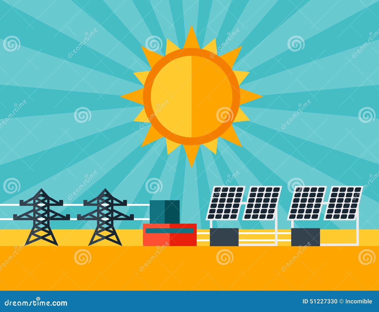 Ejemplo De La Central El 233 Ctrica De Energ 237 A Solar En Plano