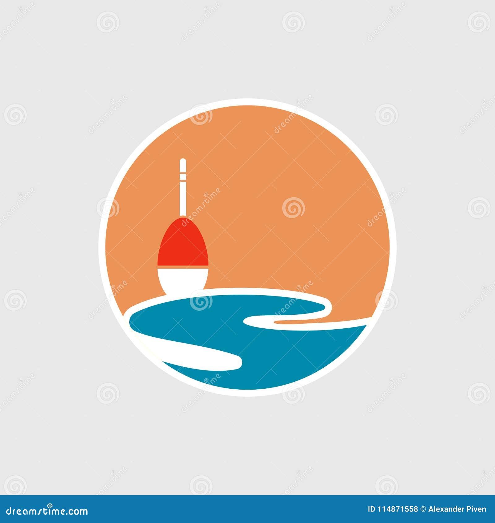 Ejemplo de la etiqueta con el icono del flotador y del sol y del mar Logotipo de la pesca, logotipo de los pescados, símbolo de l