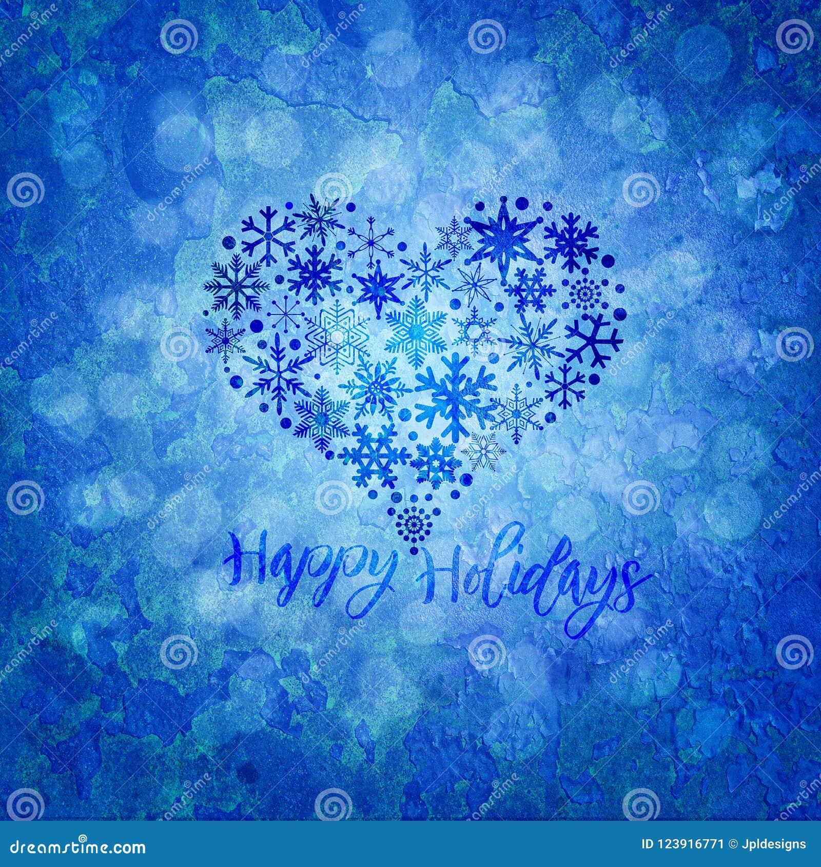 Ejemplo de la forma del corazón de los copos de nieve de la Navidad buenas fiestas
