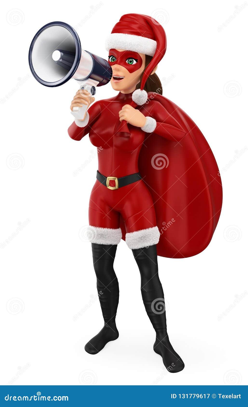 Ejemplo de la gente de la Navidad 3d Super héroe de la mujer con un saco que habla en un megáfono Fondo blanco aislado