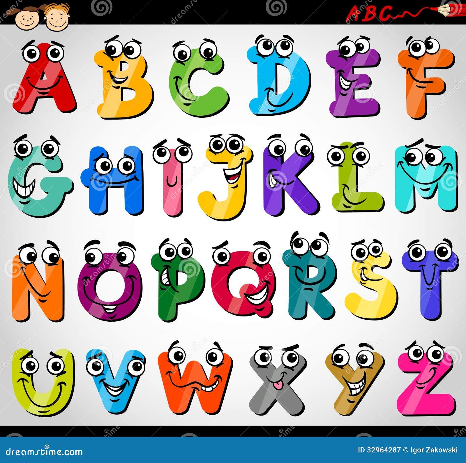 Ejemplo de la historieta del alfabeto de las mayúsculas