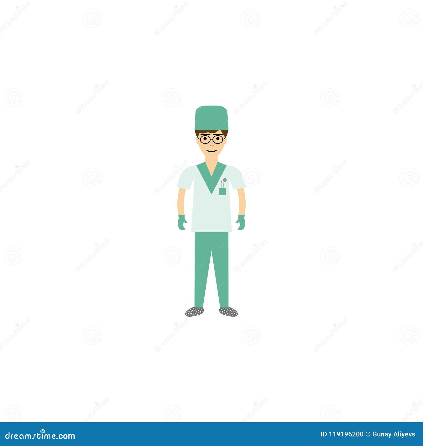 Ejemplo de la historieta del cirujano Elemento del icono de la historieta de la profesión para los apps móviles del concepto y de