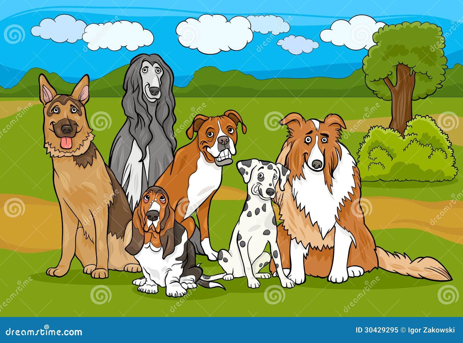 Ejemplo criado en línea pura lindo de la historieta del grupo de los perros
