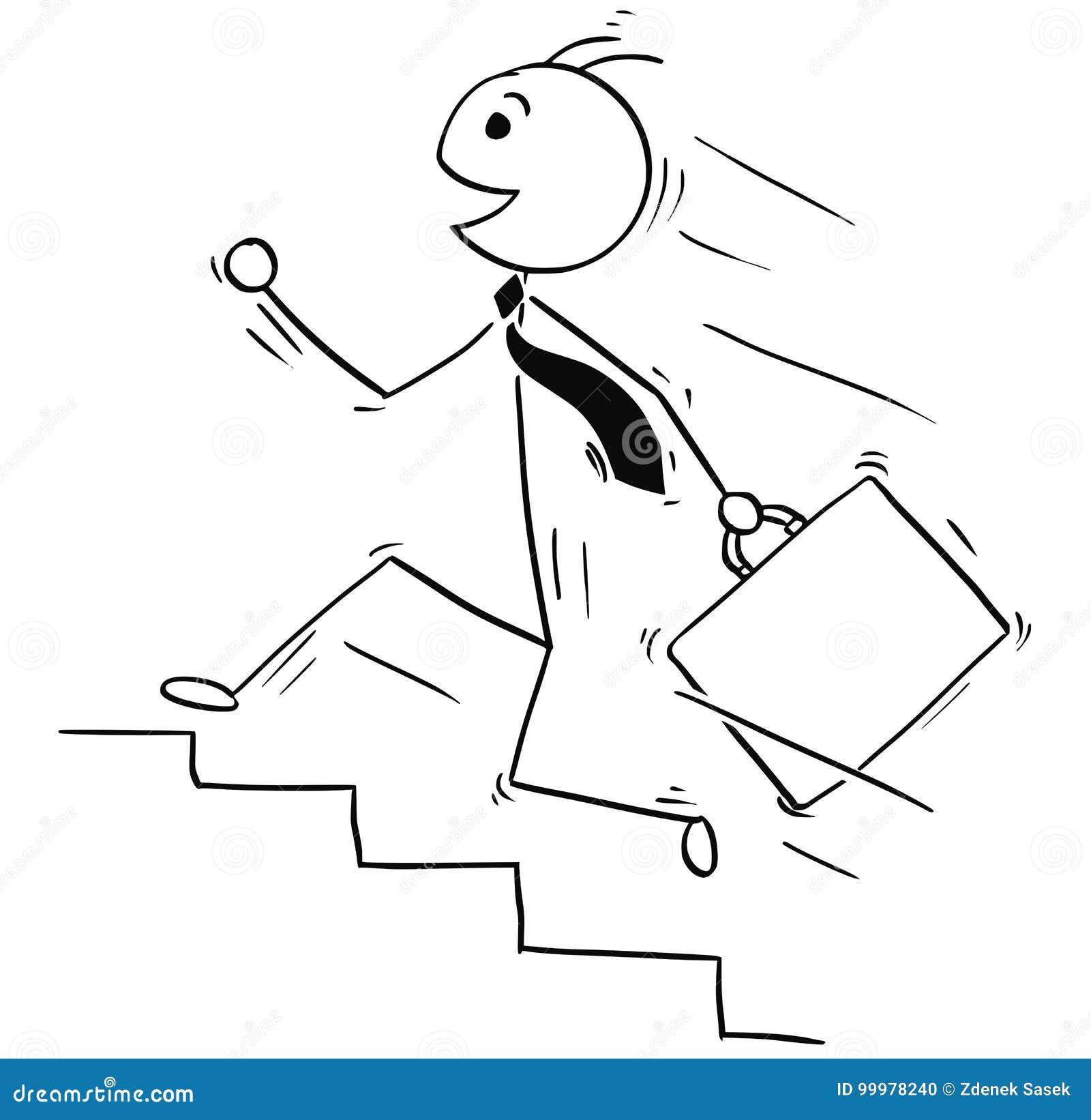 Ejemplo de la historieta del hombre de negocios sonriente que corre arriba