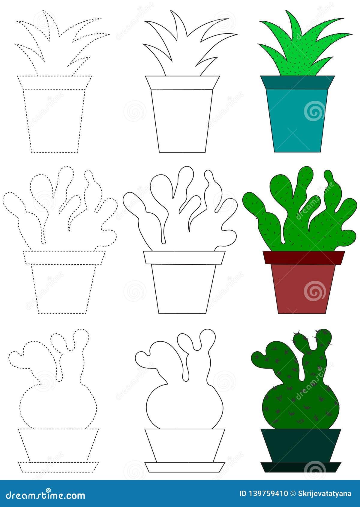 Ejemplo De La Historieta Del Vector De Los Iconos Del Cactus