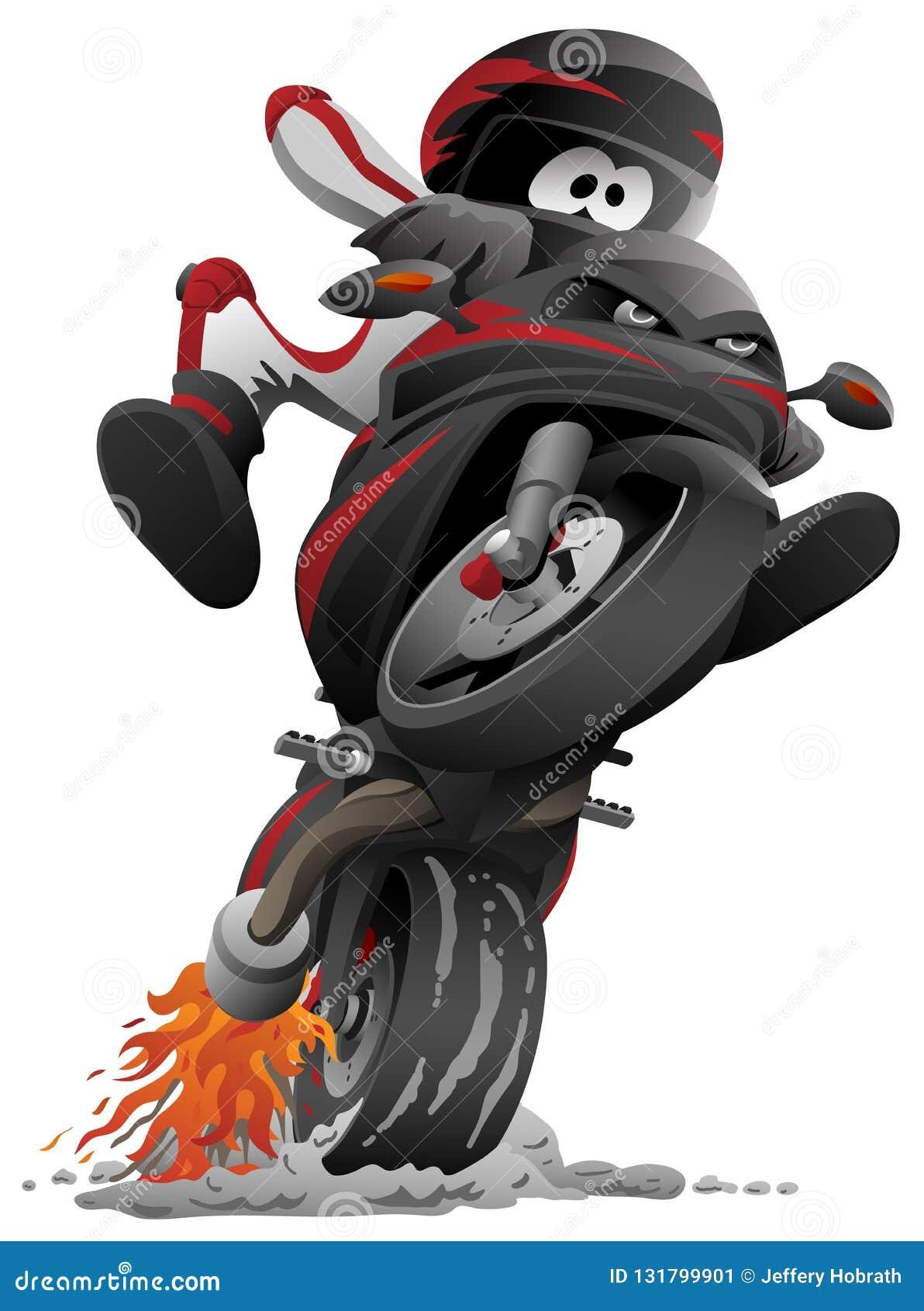 Ejemplo de la historieta del vector de la motocicleta de Sportbike