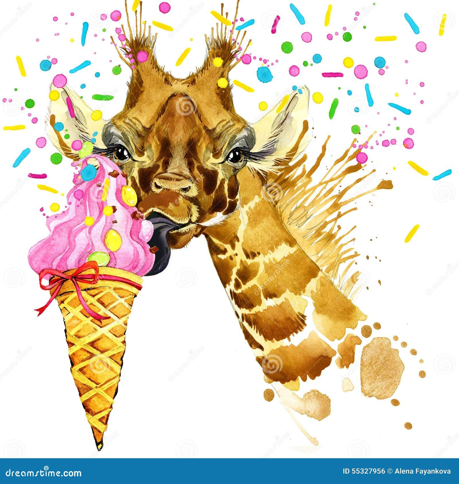 Ejemplo de la jirafa con el fondo texturizado acuarela del chapoteo