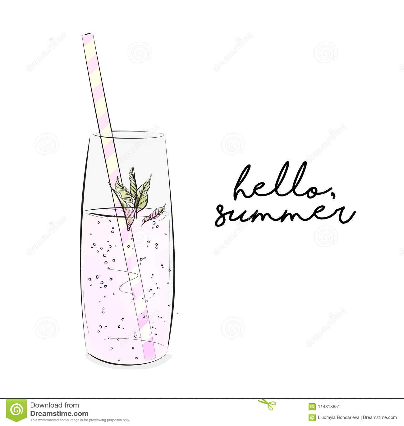 Ejemplo de la limonada del vector La frescura chispeó líquido con la menta Bebida de restauración del verano frío Picknic rústico