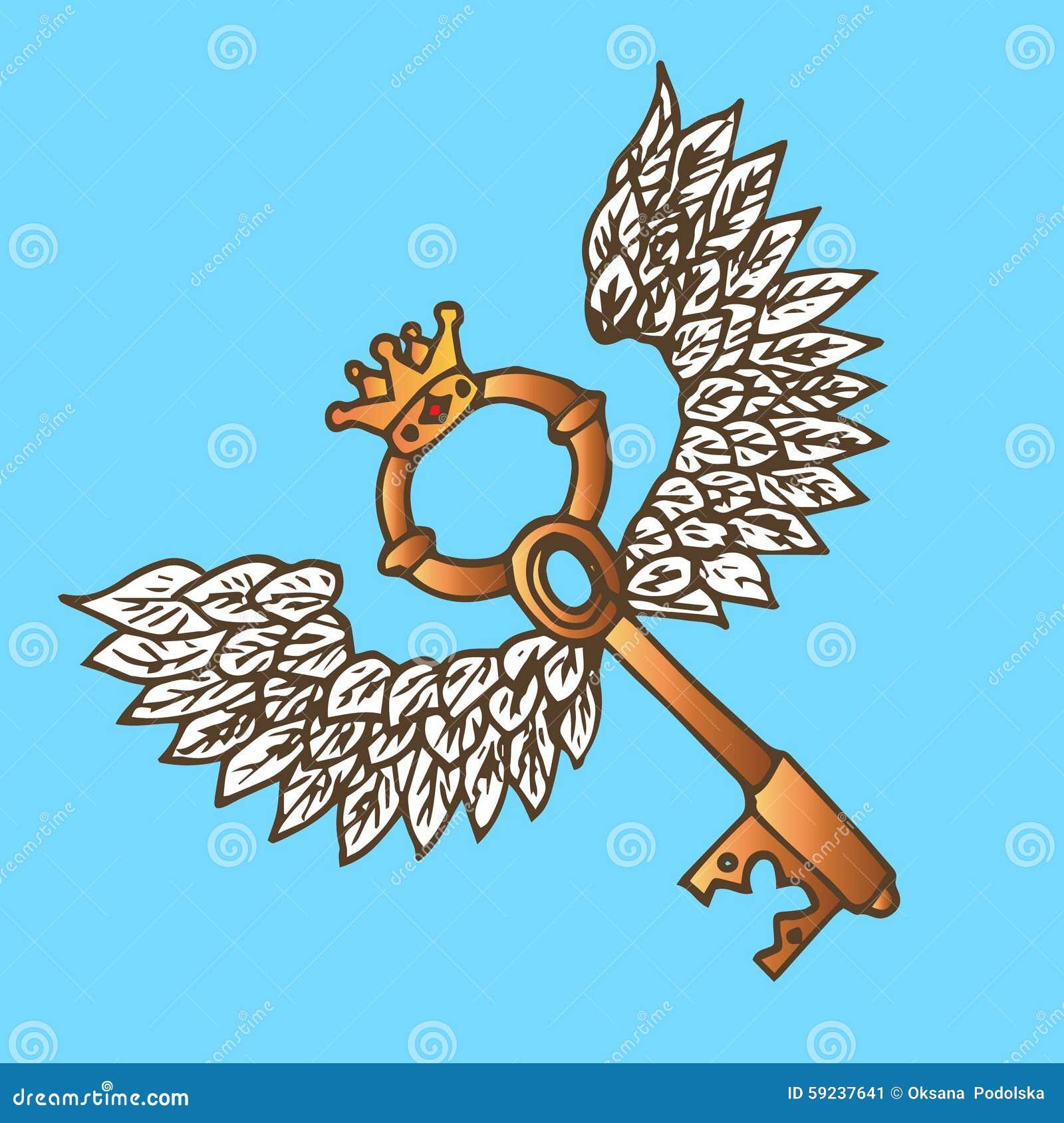 Ejemplo de la llave con las alas Llave de oro con el ángel del vuelo alas y corona vendimia