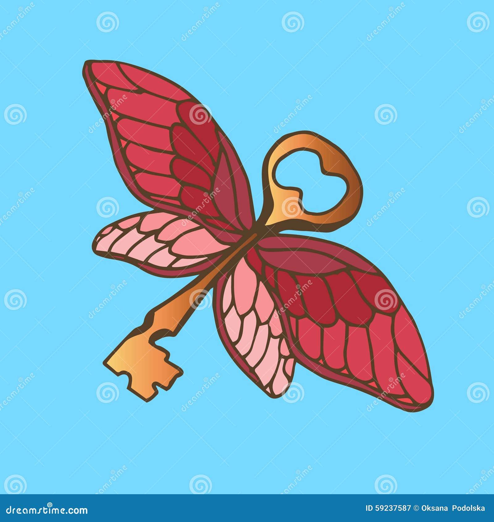 Download Ejemplo De La Llave Con Las Alas Llave De Oro Con Las Alas De Una Mariposa Del Vuelo Ilustración del Vector - Ilustración de decorativo, ilustración: 59237587