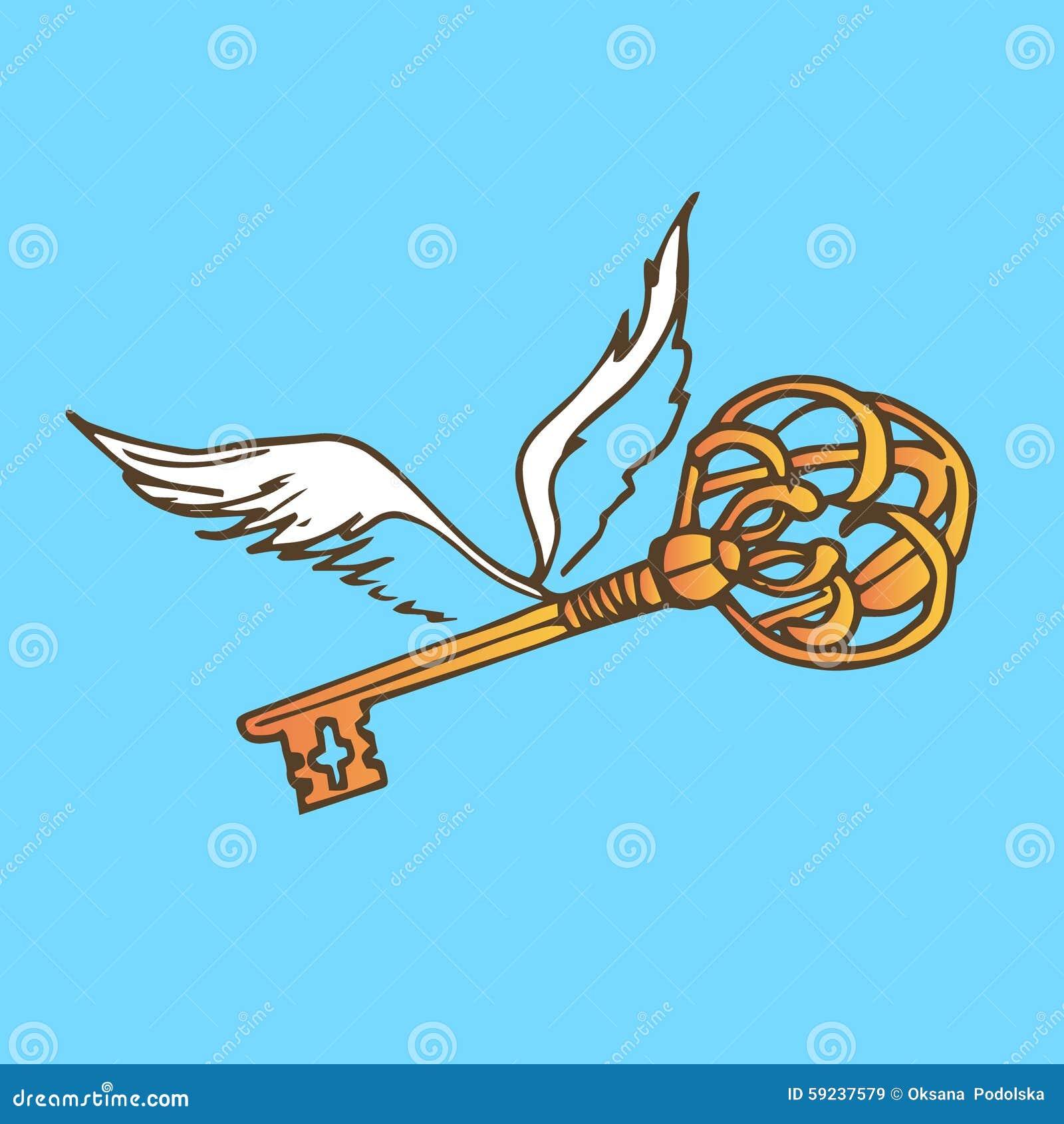 Download Ejemplo De La Llave Con Las Alas Llave De Oro Con Las Alas Del ángel Del Vuelo Ilustración del Vector - Ilustración de gráfico, ilustración: 59237579