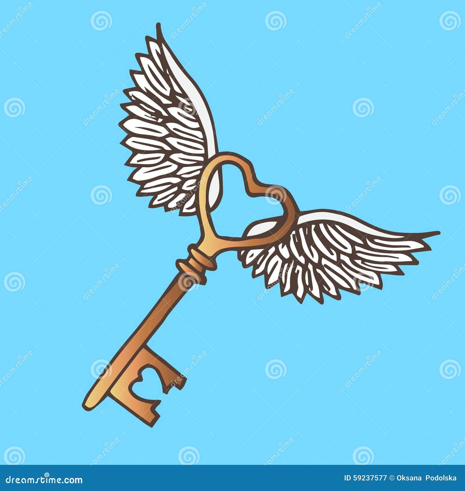 Ejemplo de la llave con las alas Vintage de la llave de oro que vuela
