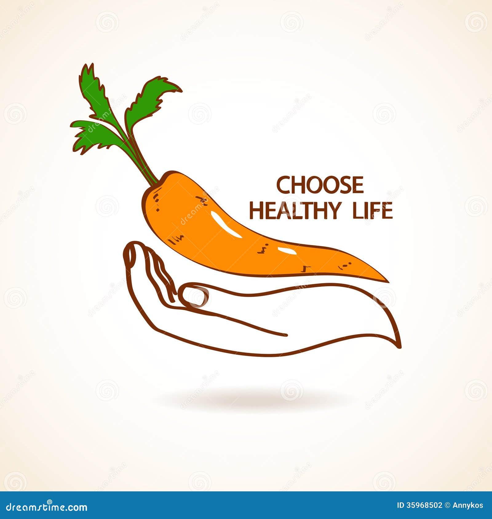 Ejemplo de la mano humana que celebra la zanahoria