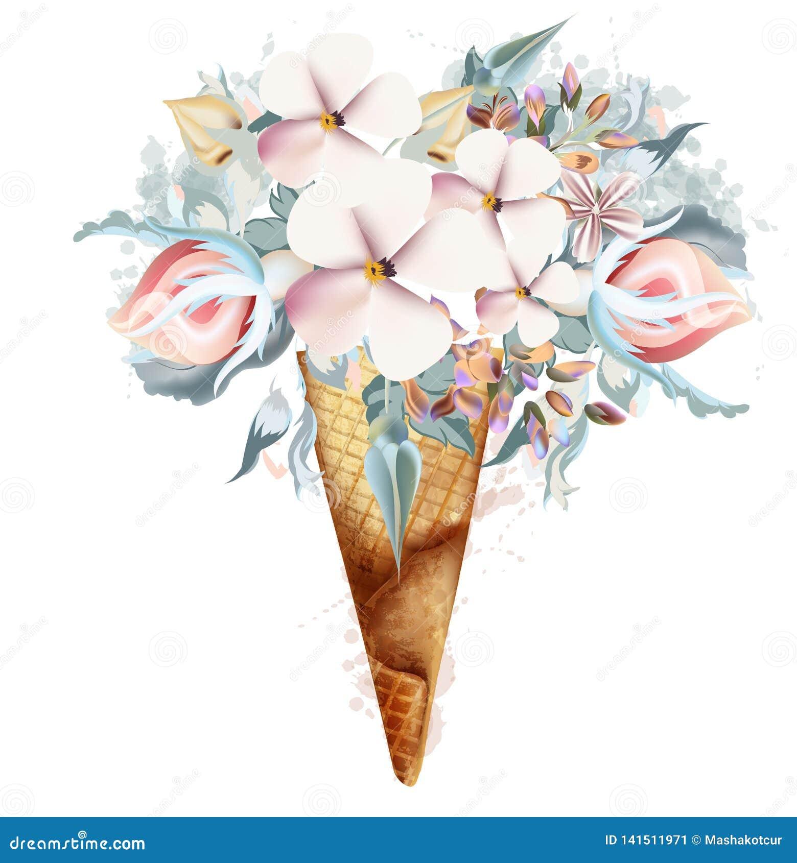 Ejemplo de la moda, impresión para la camiseta con helado de las flores de la primavera
