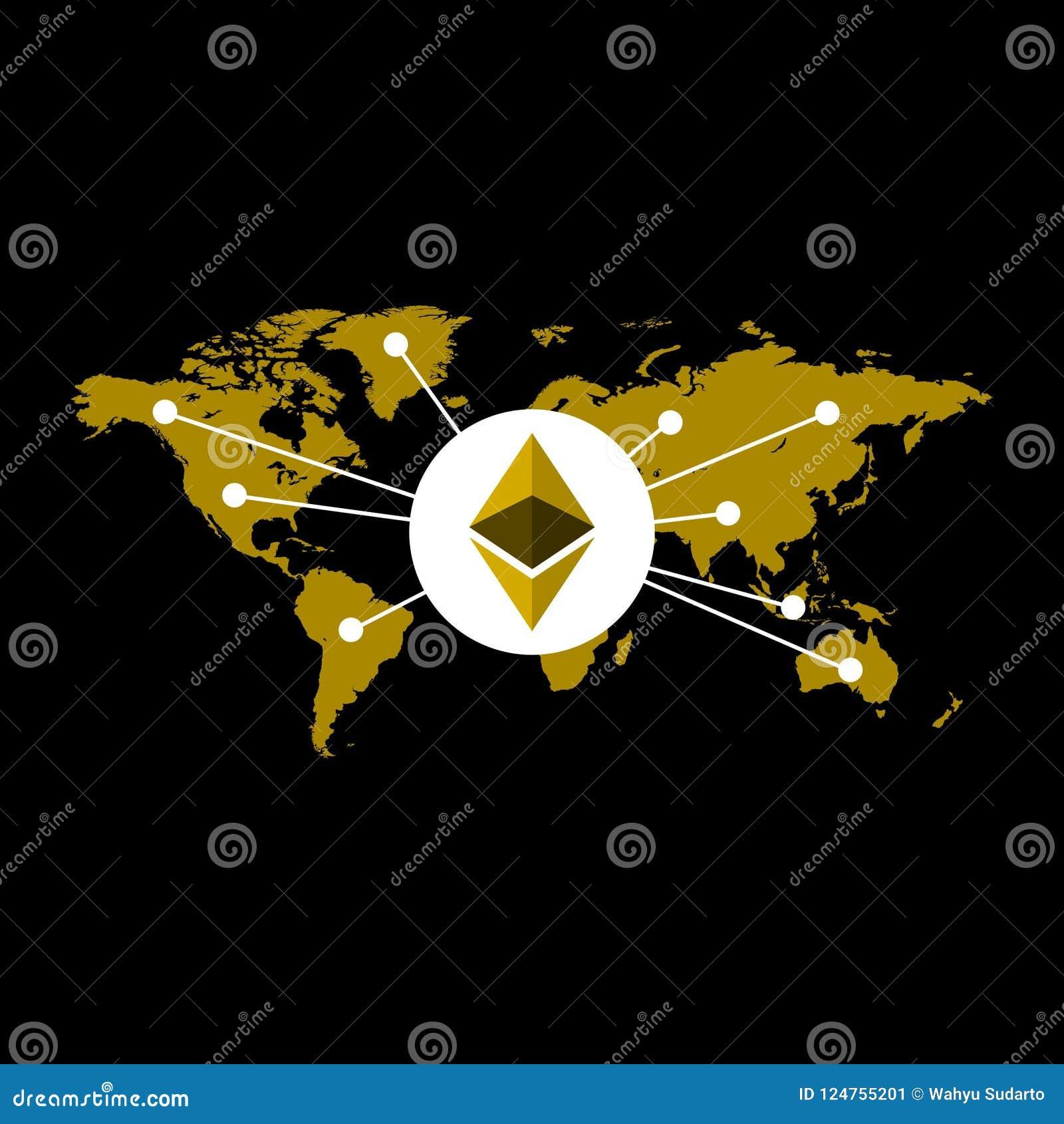 Ejemplo de la moneda de Ethereum basado en mapa del mundo