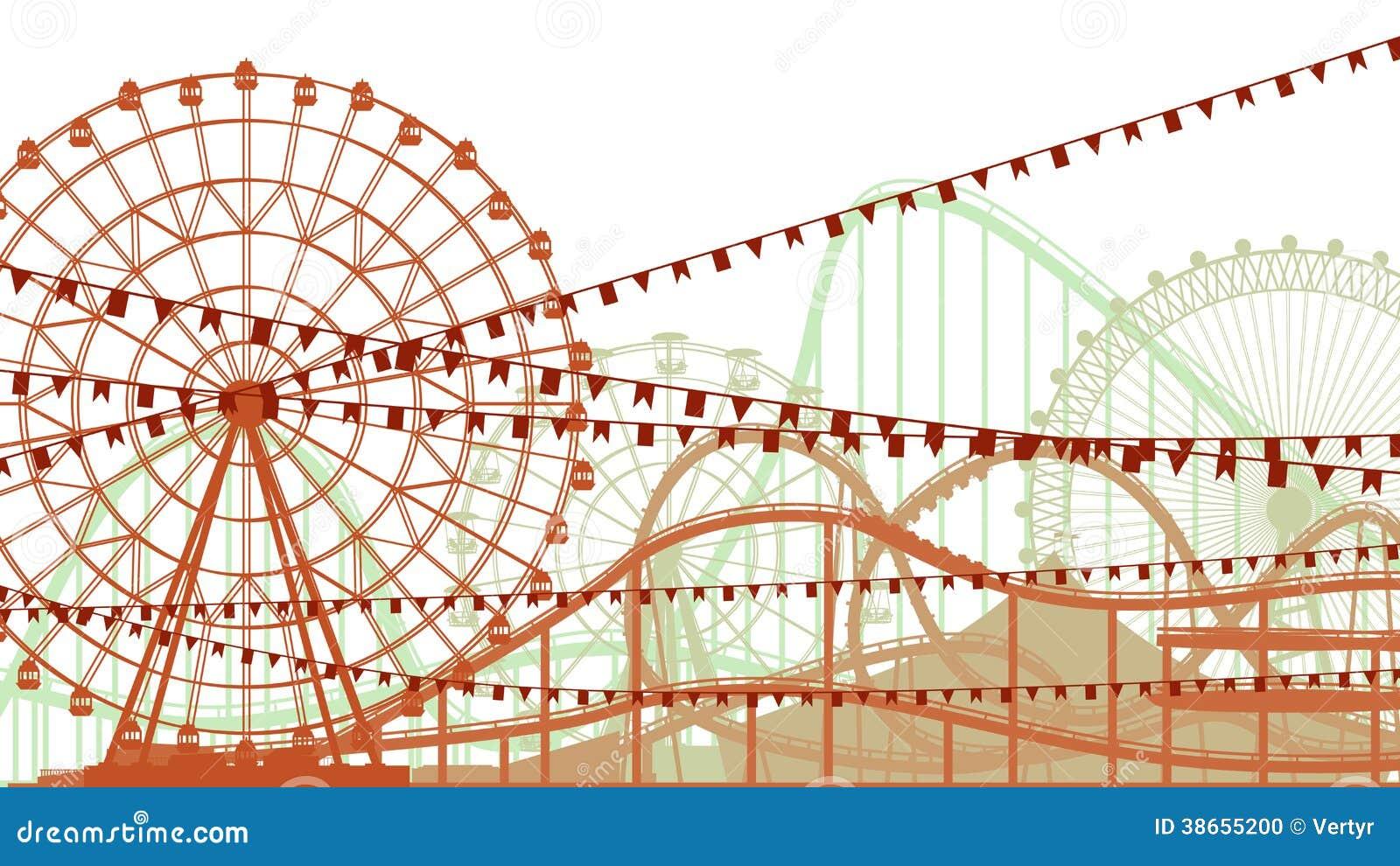 Ejemplo de la montaña rusa y de Ferris Wheel.
