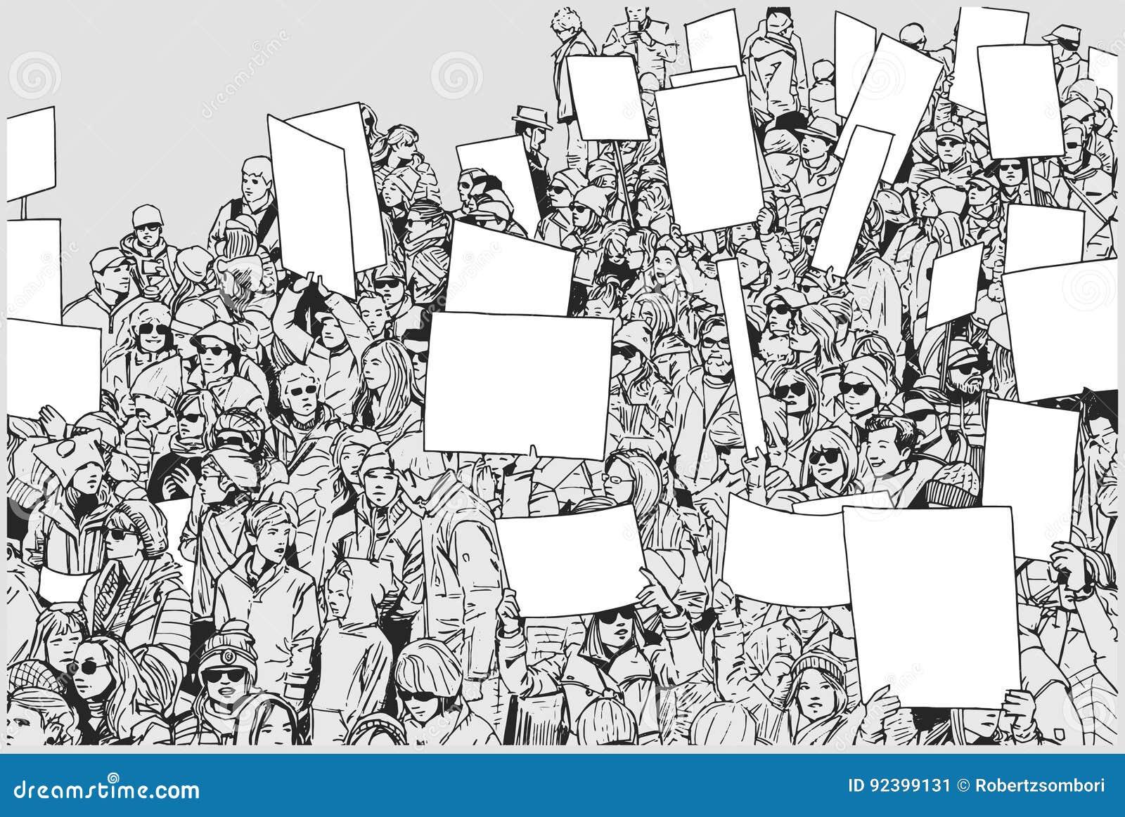Ejemplo de la muchedumbre de protesta con las manos aumentadas y las muestras en blanco