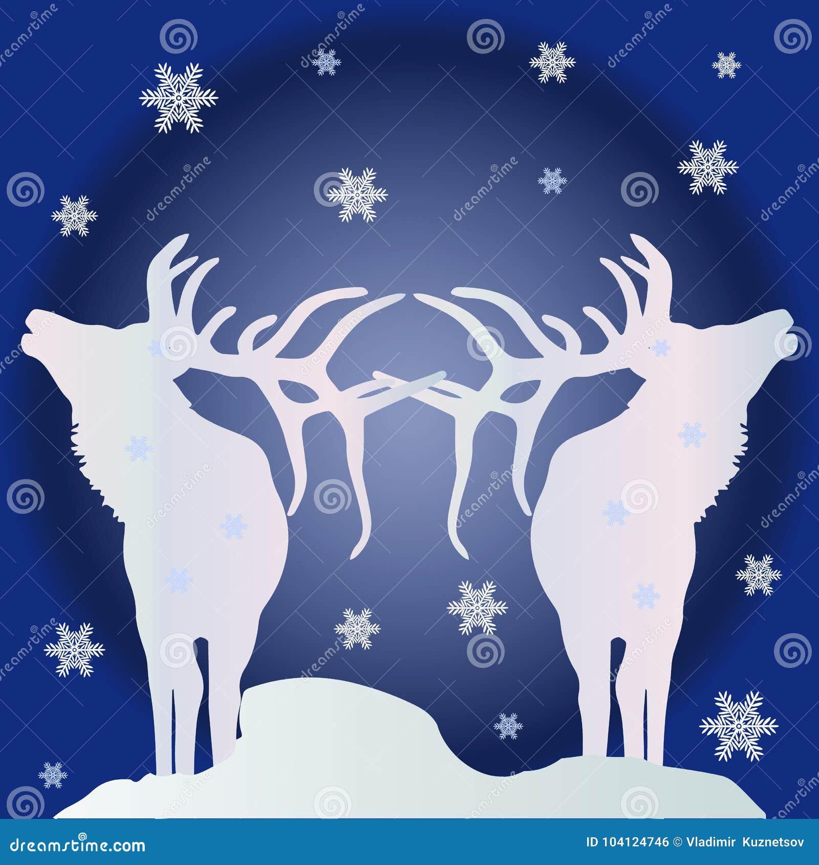 Ejemplo de la Navidad, dos siluetas blancas de los ciervos septentrionales