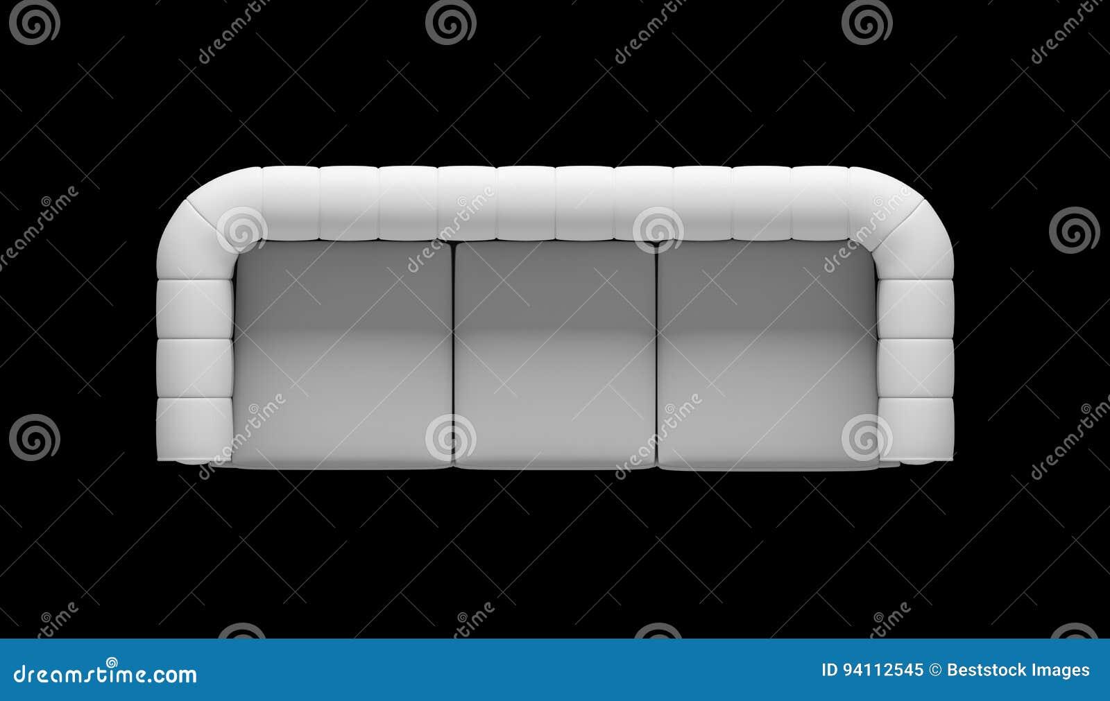 Ejemplo de la opinión superior del sofá de tres asientos