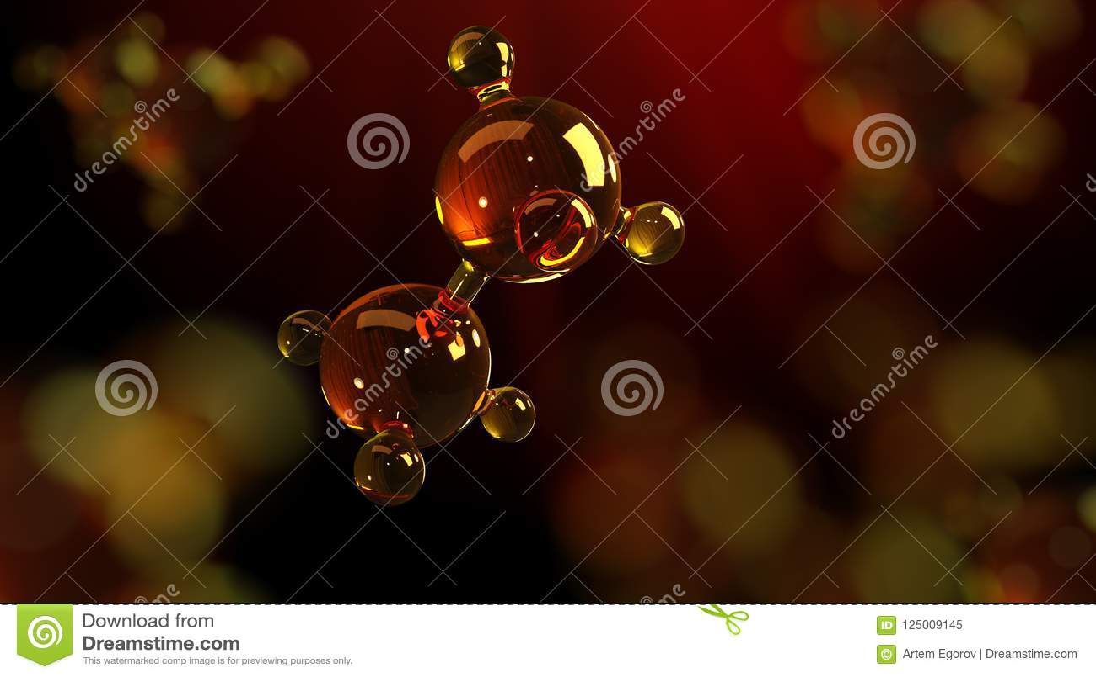 Ejemplo de la representación 3d del modelo de cristal de la molécula Molécula del aceite Concepto de aceite o de gas de motor del