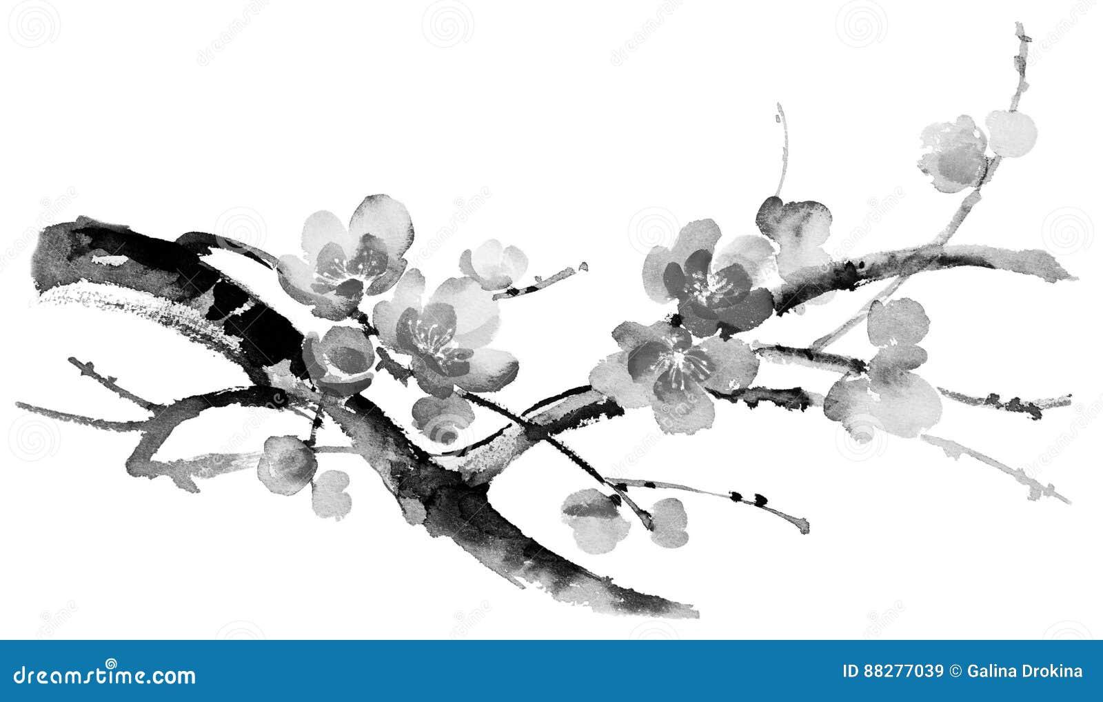 Ejemplo de la tinta de Sakura Estilo de Sumi-e