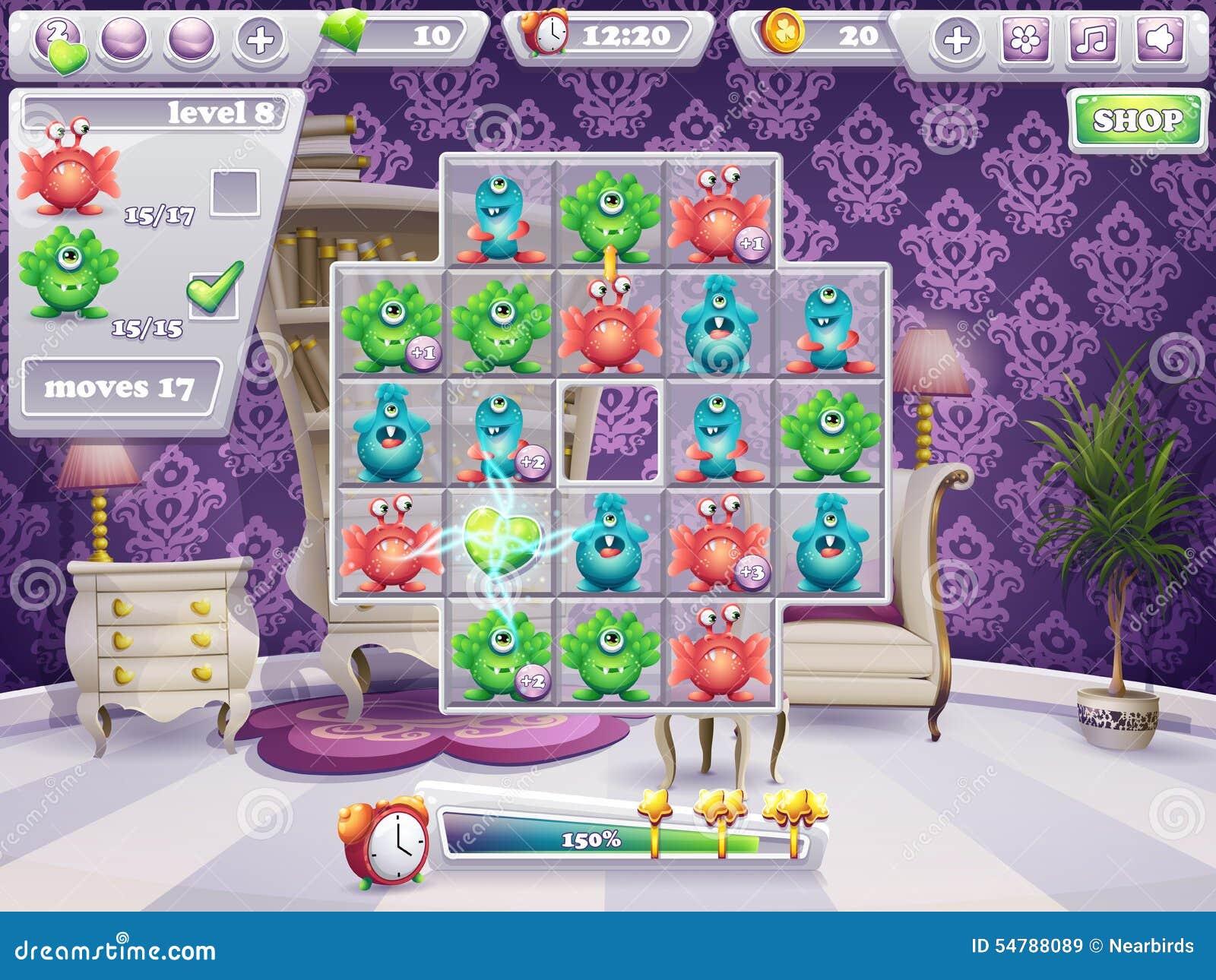 Ejemplo de la ventana del terreno de juego y los monstruos y el diseño web del juego de ordenador del interfaz