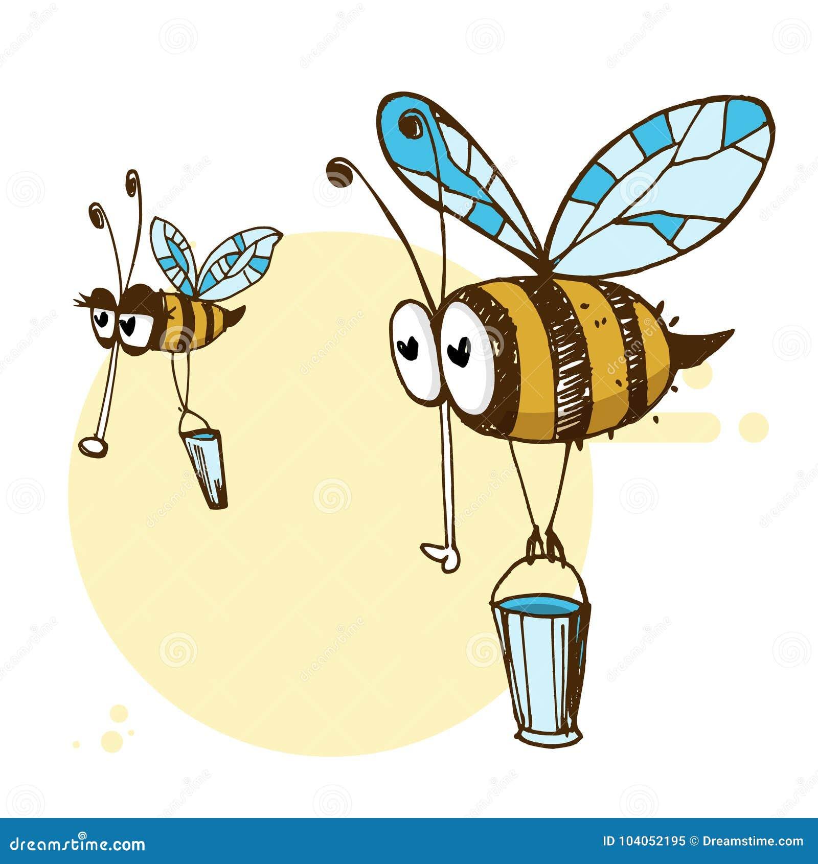 Ejemplo de las abejas lindas amistosas de un vuelo