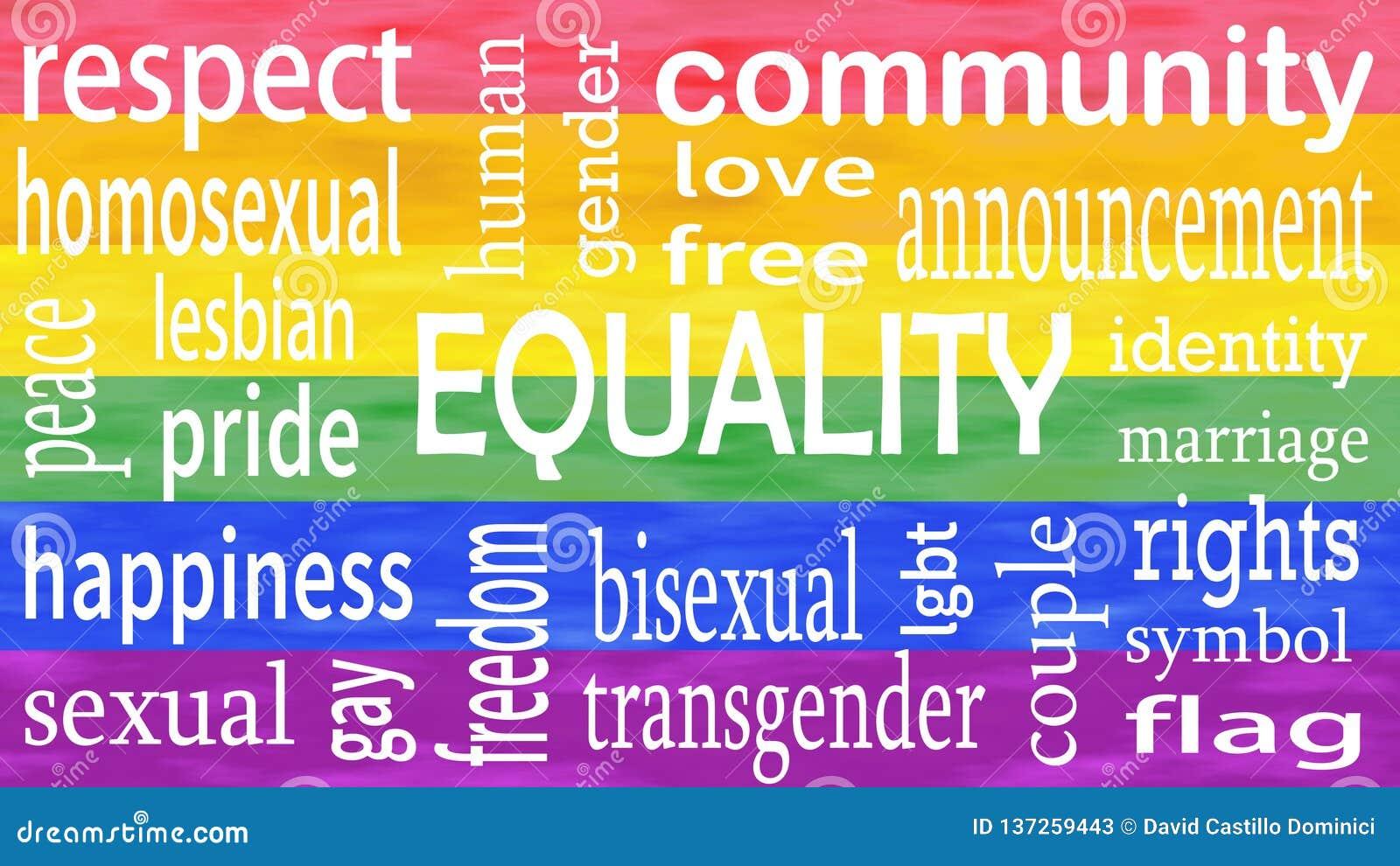 Ejemplo de las letras de la palabra de la igualdad en fondo de los colores de la bandera del lgbt