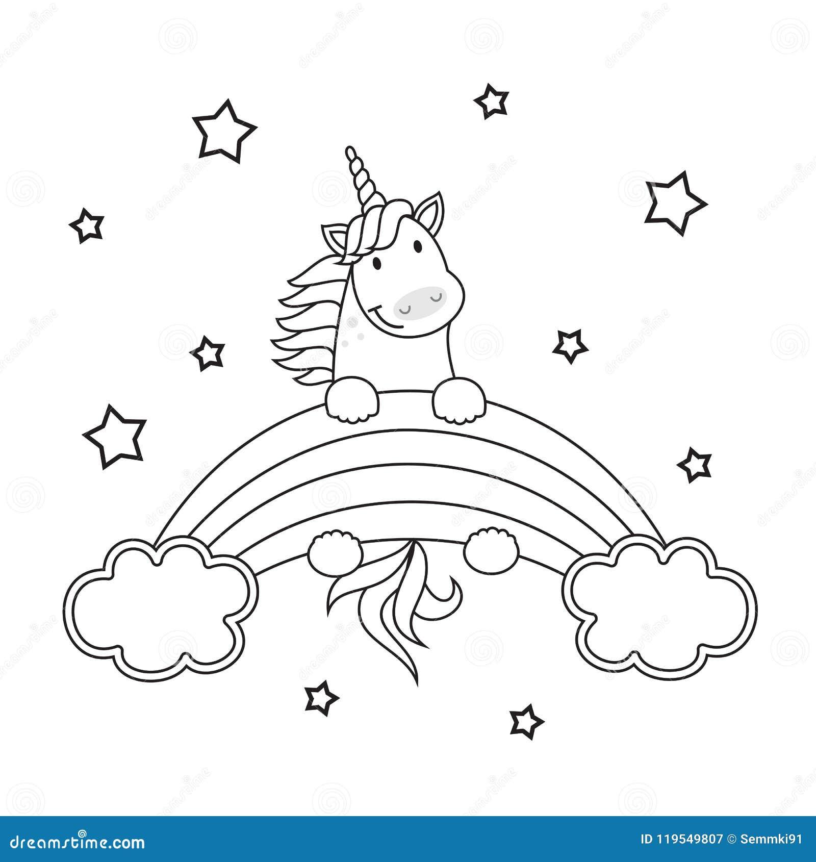 Ejemplo De Lino Del Vector Lindo Del Unicornio Para El Libro De