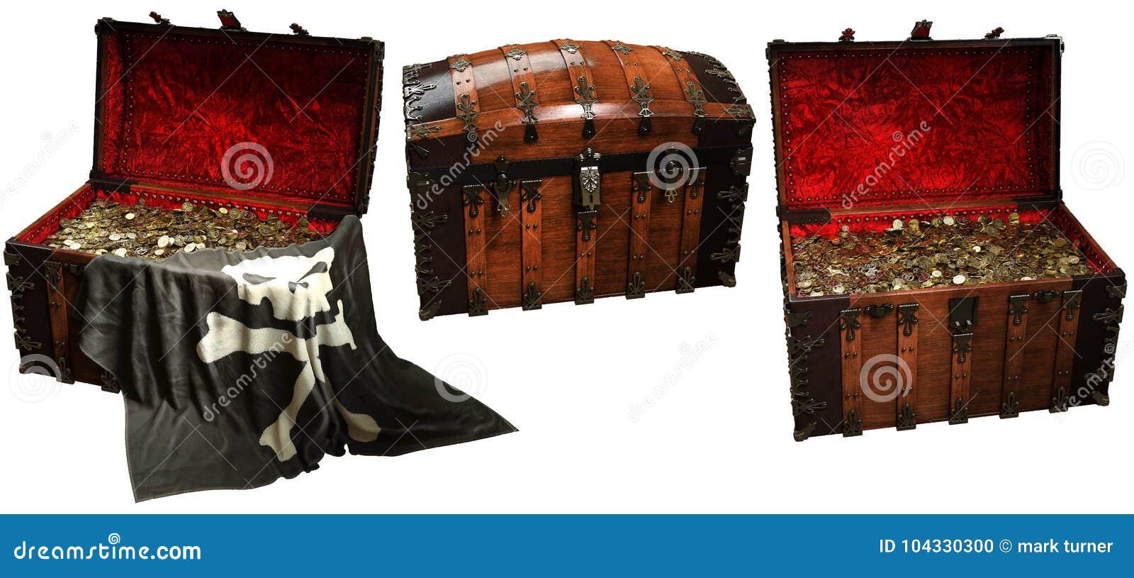 Ejemplo de los cofres del tesoro 3D del pirata