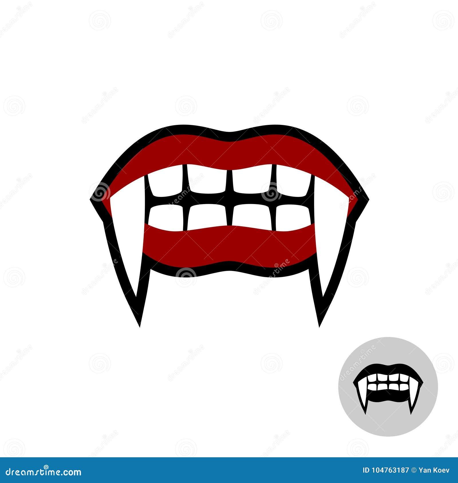 Ejemplo de los dientes de Drácula del vampiro Boca roja de los labios con los colmillos