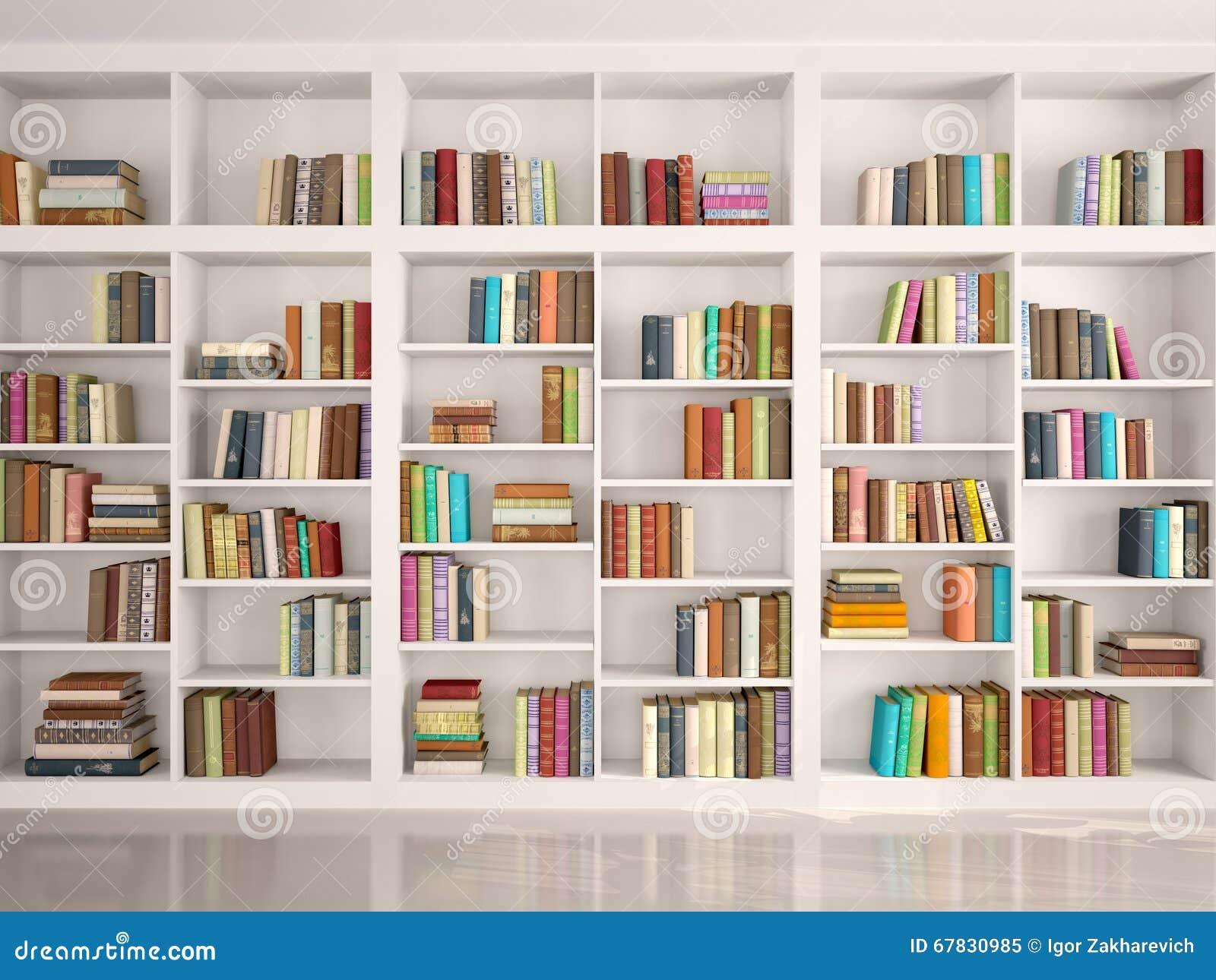 Ejemplo de los estantes blancos con los diversos libros - Estante para libros ...