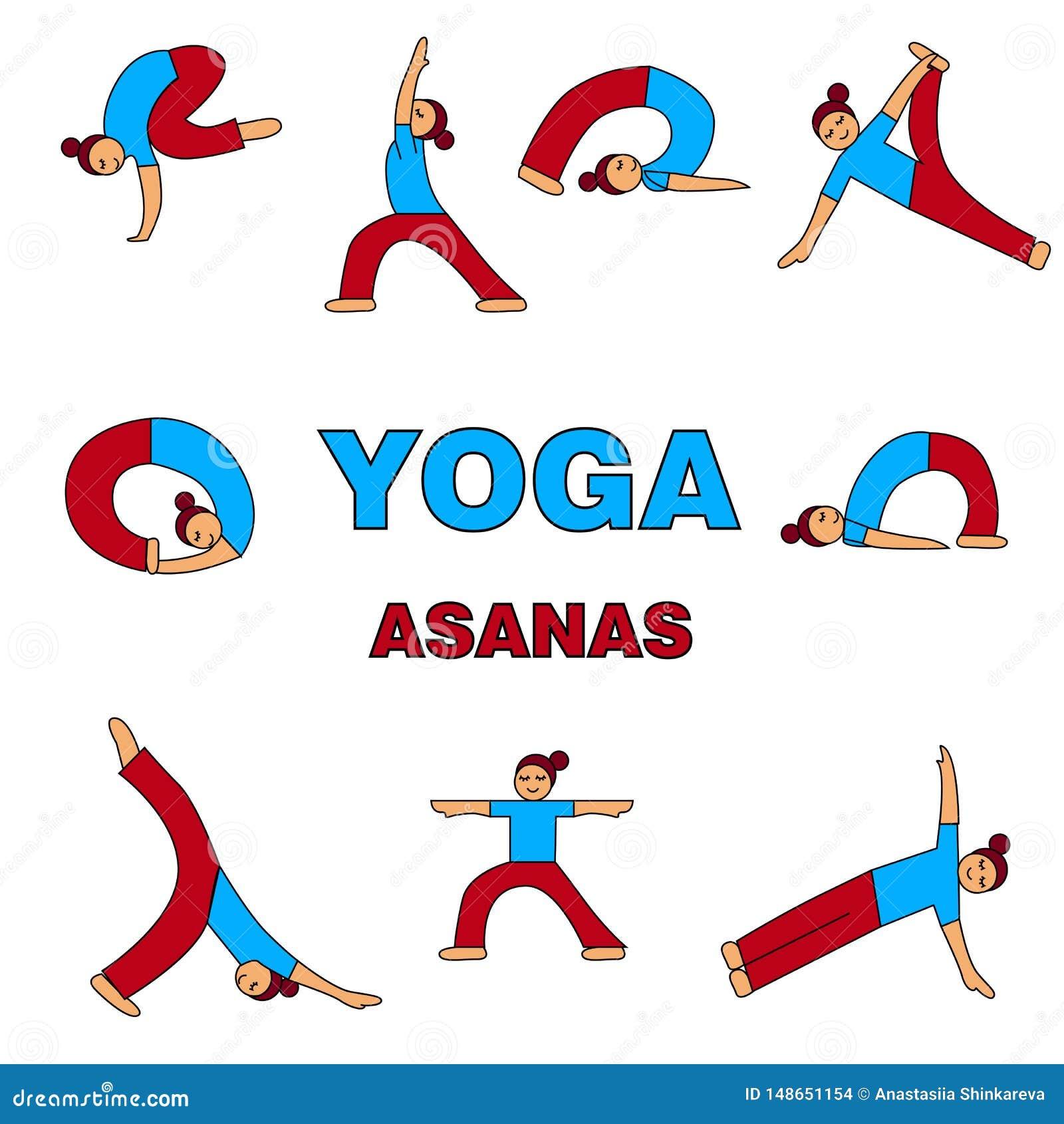 Ejemplo de los iconos de los asanas de la yoga 9 diversas actitudes Figura simple