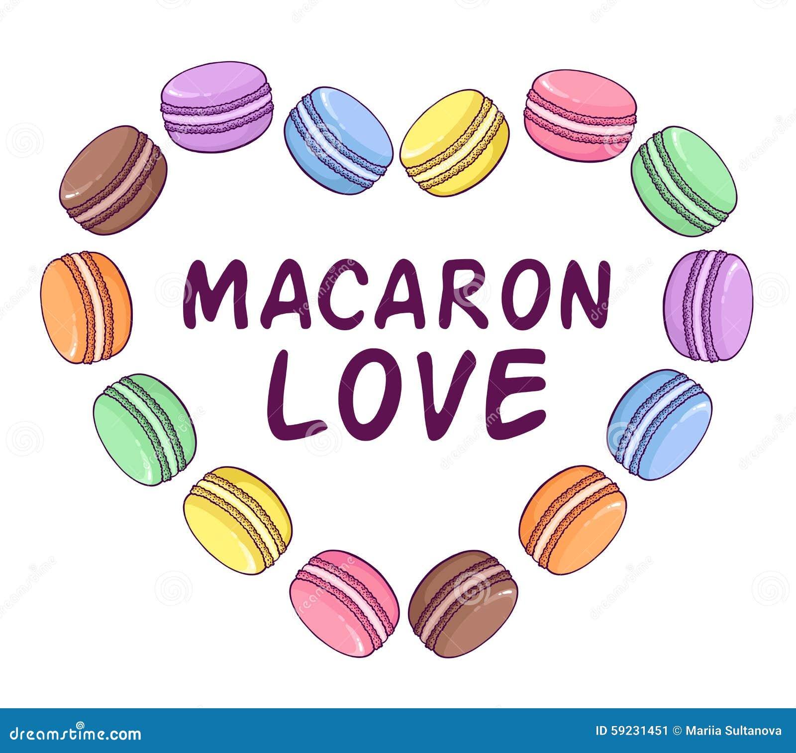 Download Ejemplo De Los Macarrones Del Vector En Forma Del Corazón Stock de ilustración - Ilustración de panadería, confitería: 59231451